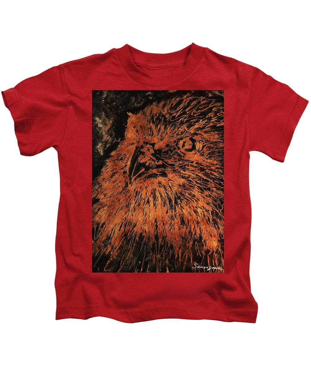 Sheila Sauvageau Kids T-Shirt featuring the painting Eagle Metallic Copper by Sheila Sauvageau