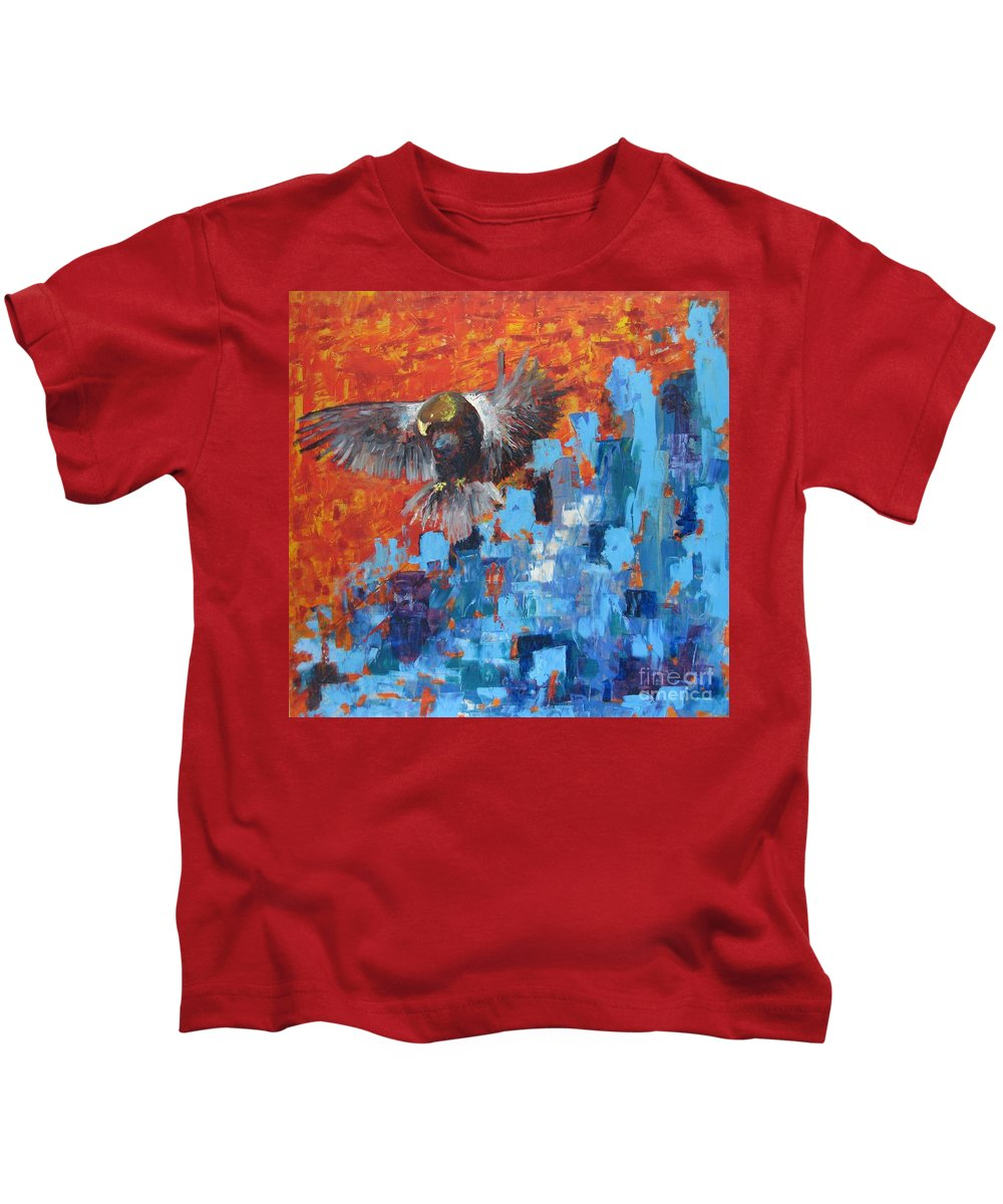 Nature Kids T-Shirt featuring the painting Eagle by Stella Velka