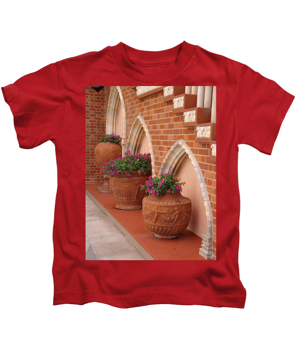 Archways Kids T-Shirt featuring the photograph Elegant Italian Florals by Kim Chernecky