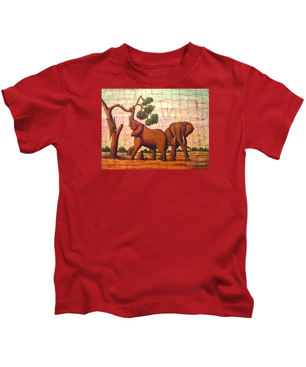 African Kids T-Shirt featuring the painting Elephants View by Peter Chikwondi