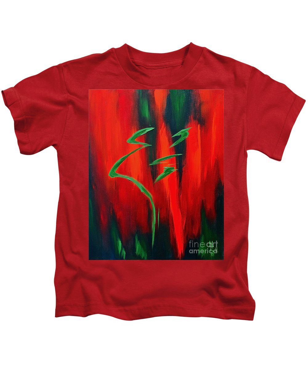Abstract By Herschel Fall Red Green Hot Kids T-Shirt featuring the painting Emerald by Herschel Fall