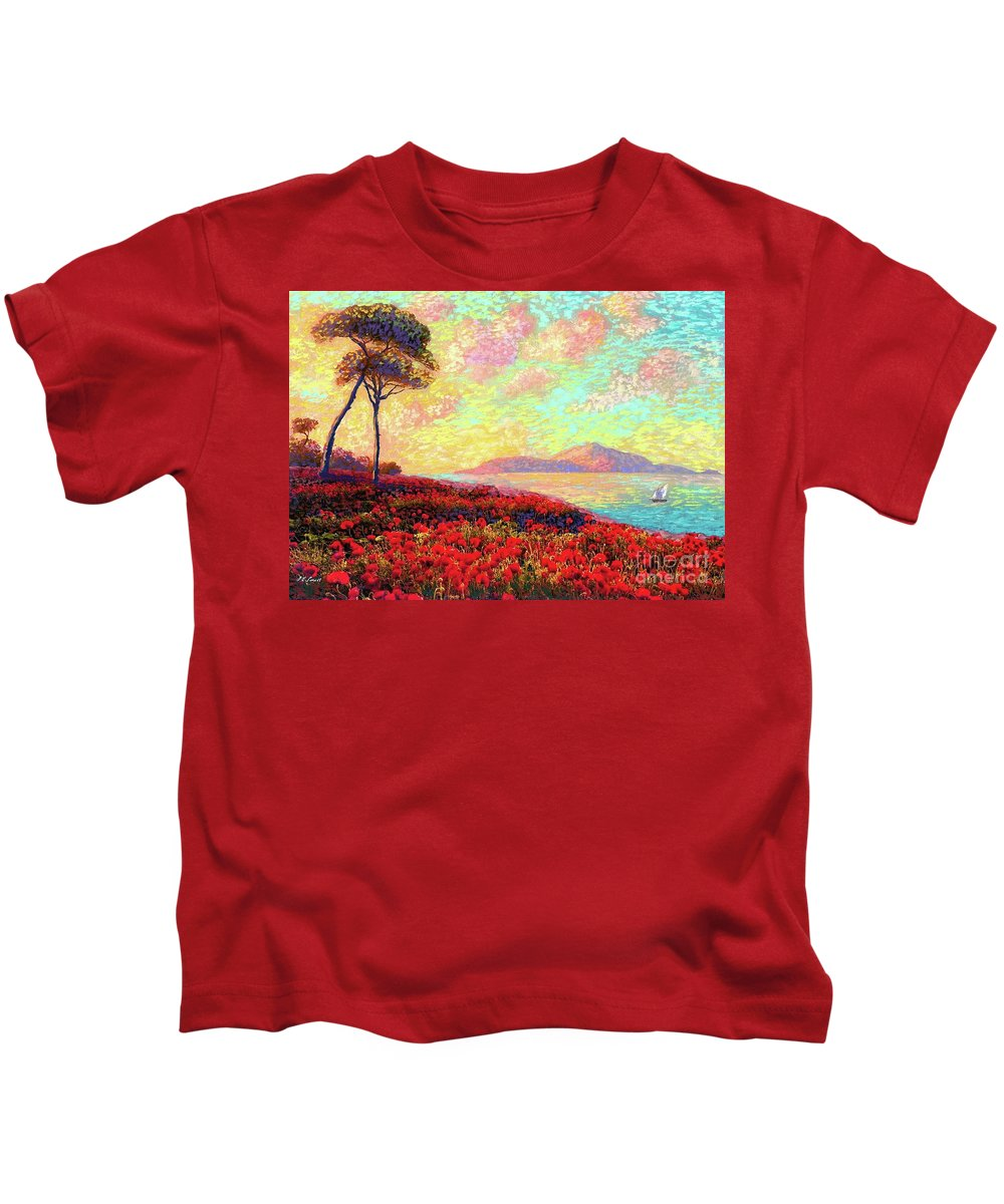 Floral Kids T-Shirt featuring the painting Enchanted by Poppies by Jane Small