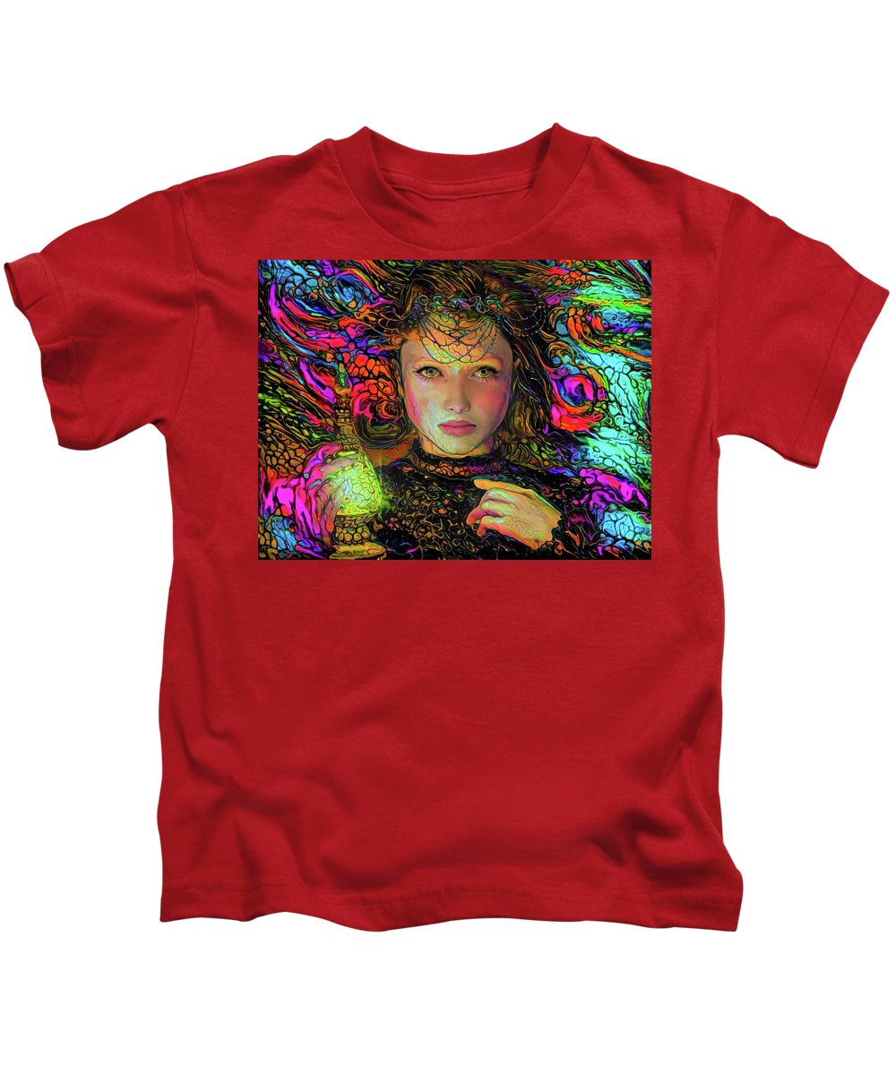 Enchantress Kids T-Shirt featuring the mixed media Enchantress by Lilia D