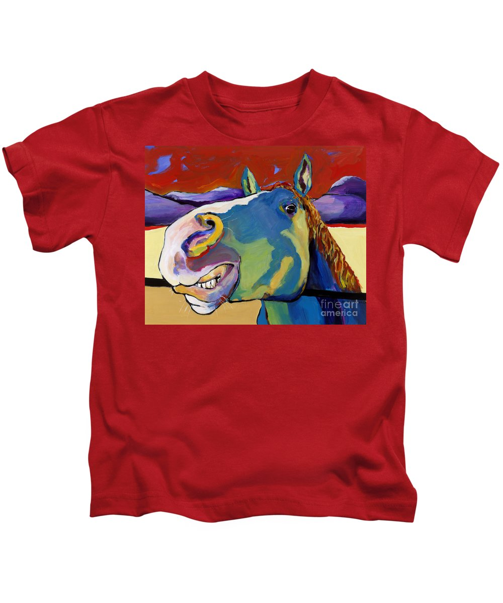 Animal Painting Kids T-Shirt featuring the painting Eye To Eye by Pat Saunders-White