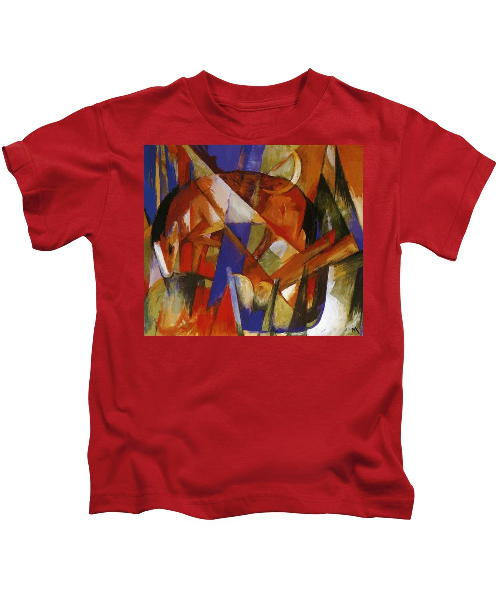 Fabulous Kids T-Shirt featuring the painting Fabulous Beast II 1913 by Marc Franz