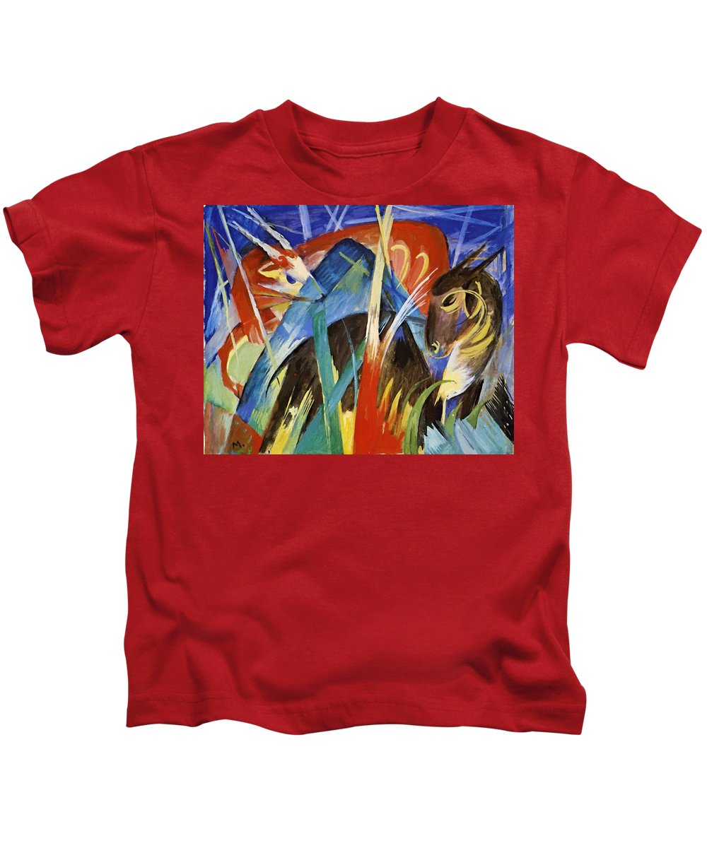 Fairy Kids T-Shirt featuring the painting Fairy Animals 1913 by Marc Franz