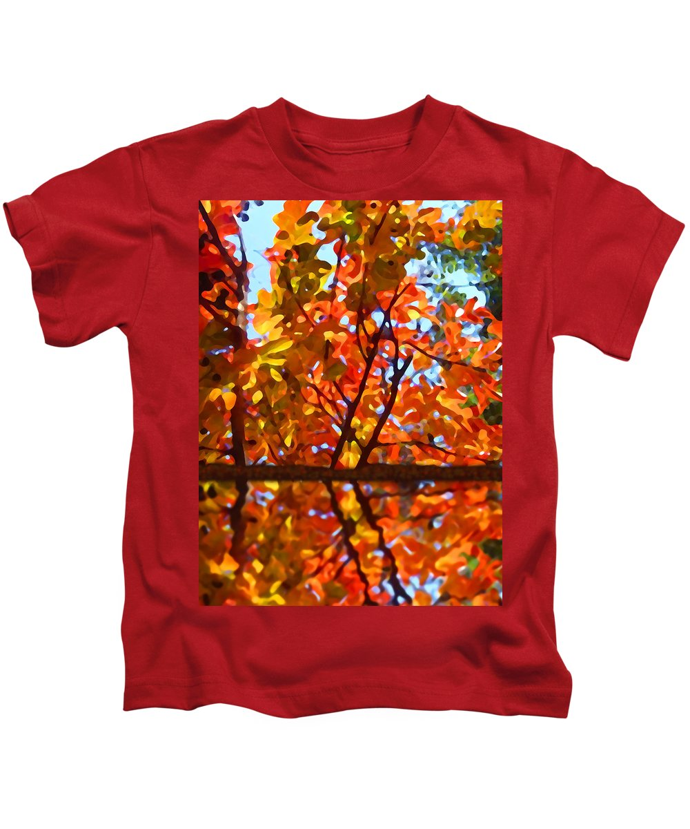 Trees Kids T-Shirt featuring the painting Fall Reflextion by Amy Vangsgard
