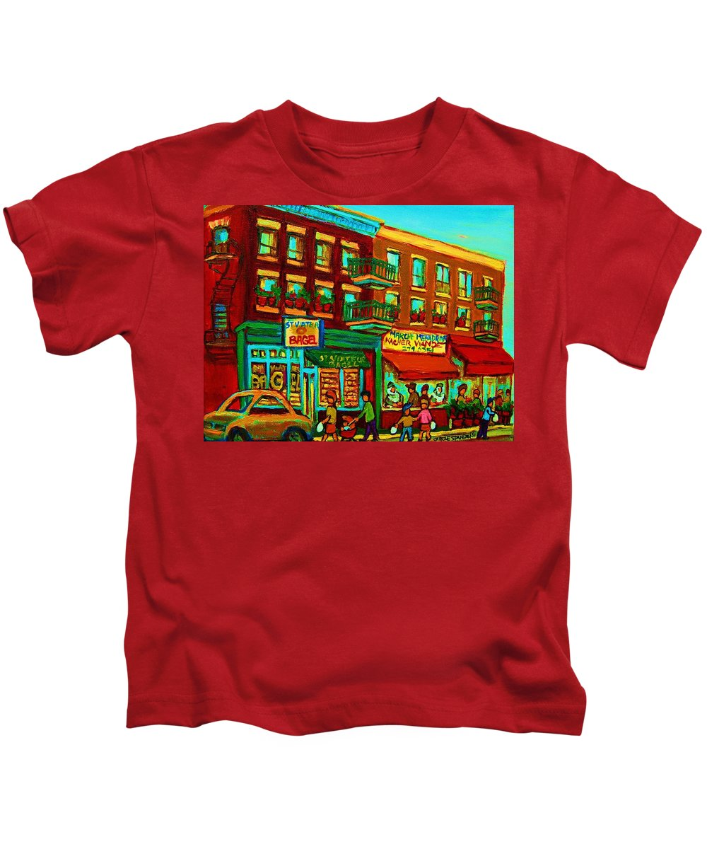 St Viateur Bagel Shop Montreal Street Scenes Kids T-Shirt featuring the painting Family Frolic On St.viateur Street by Carole Spandau
