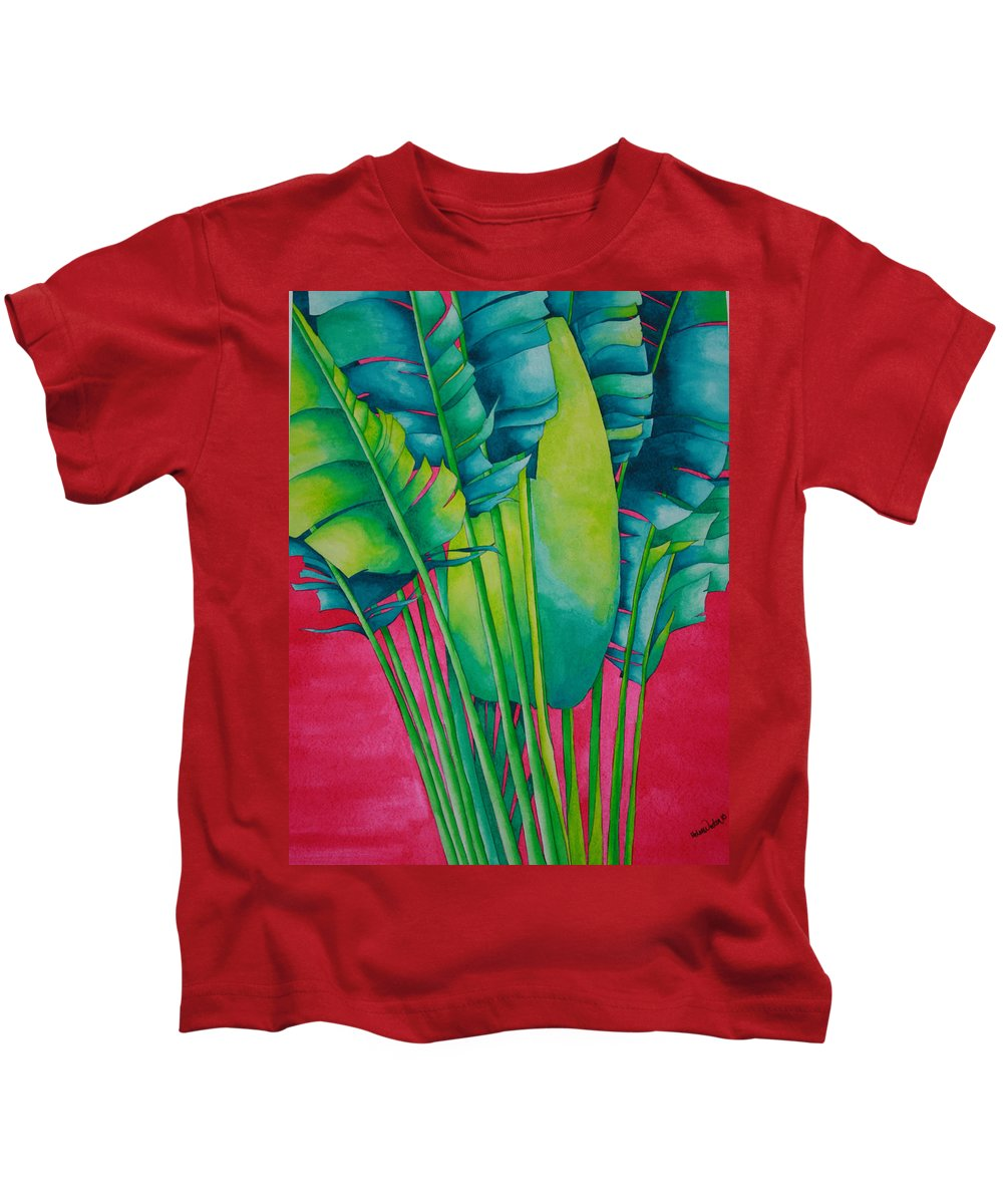 Fan Palm Kids T-Shirt featuring the painting Fan Palm With Pink by Helen Weston