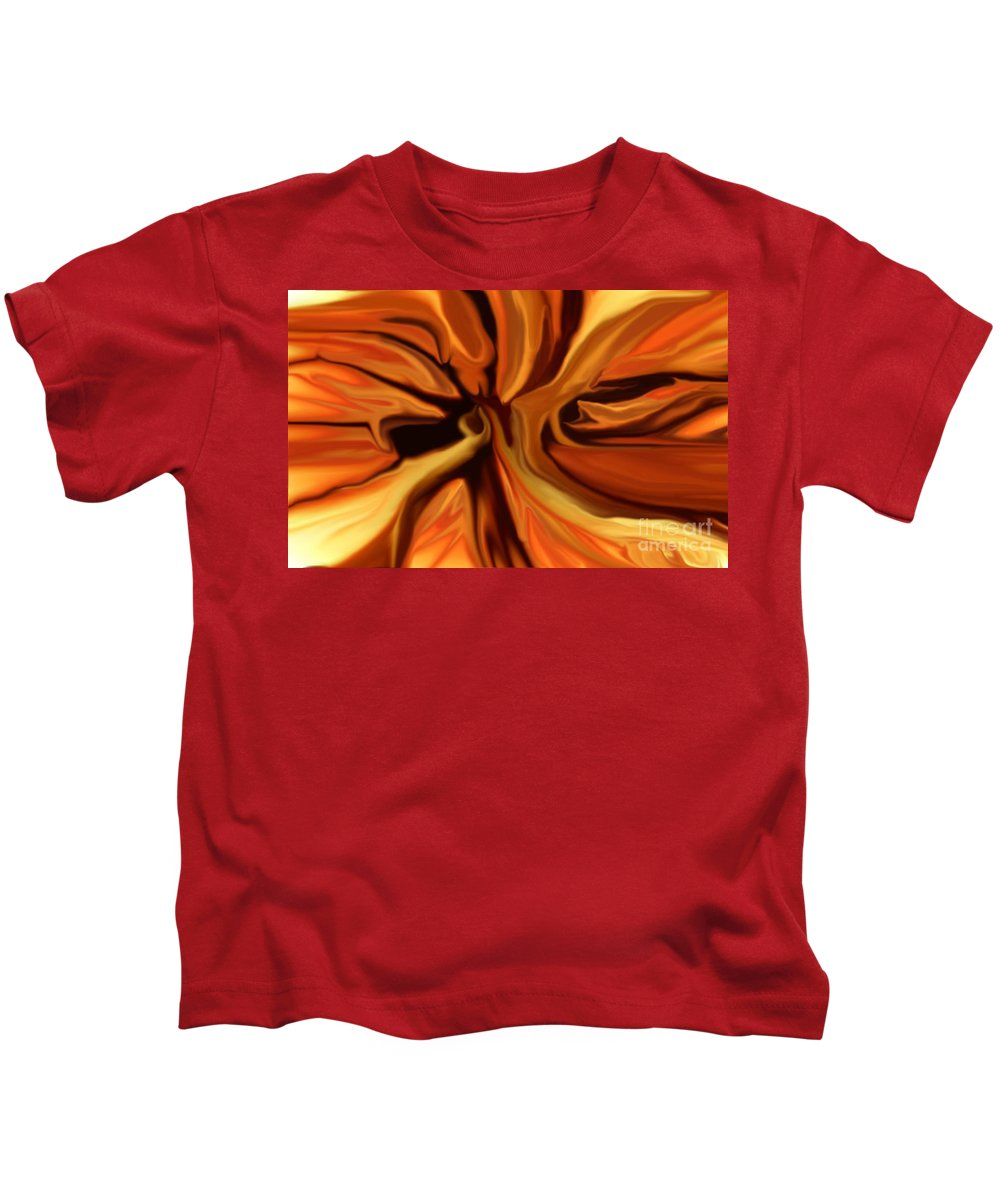 Abstract Kids T-Shirt featuring the digital art Fantasy In Orange by David Lane