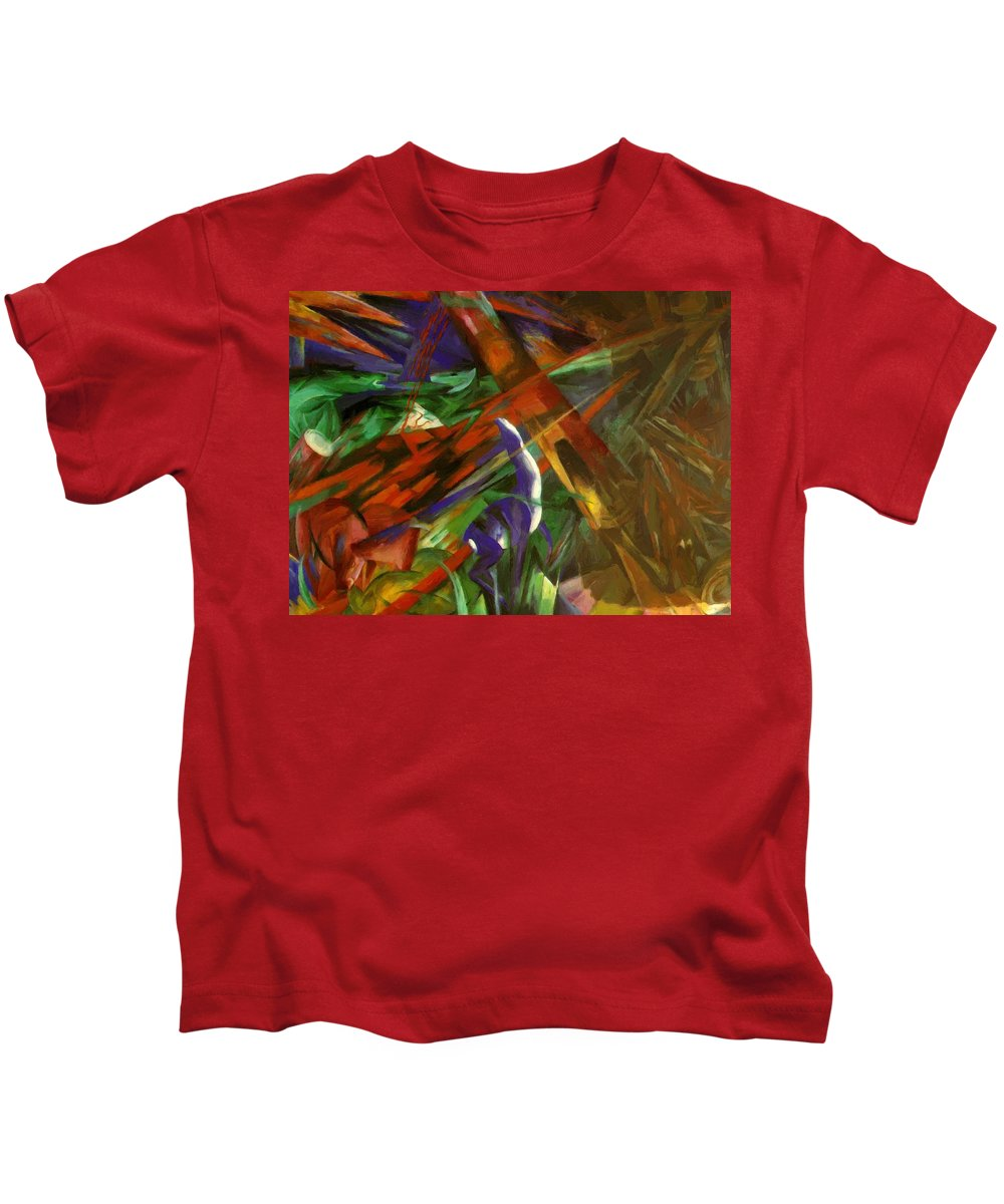 Fate Kids T-Shirt featuring the painting Fate Of The Animals by Marc Franz