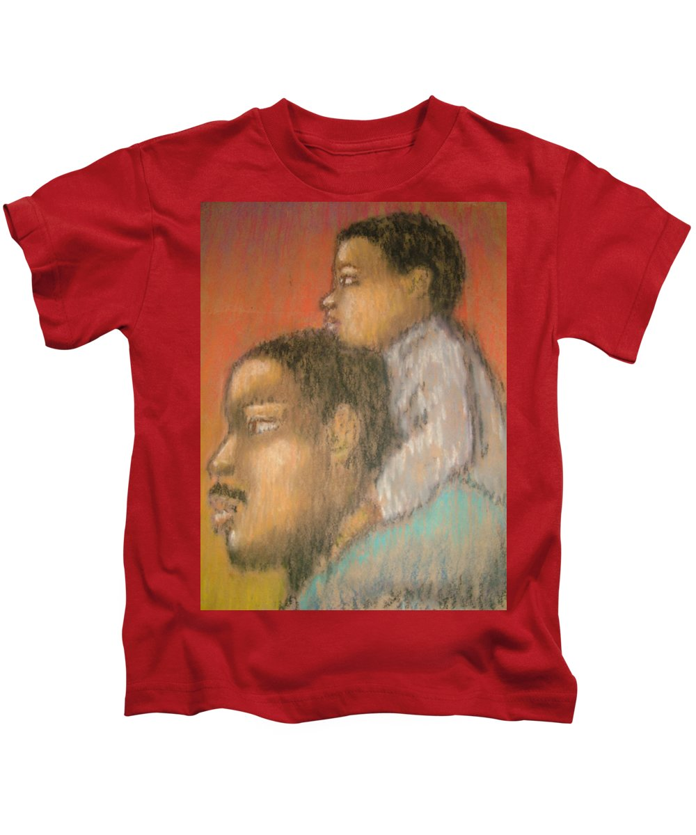 Kids T-Shirt featuring the drawing Father And Son by Jan Gilmore