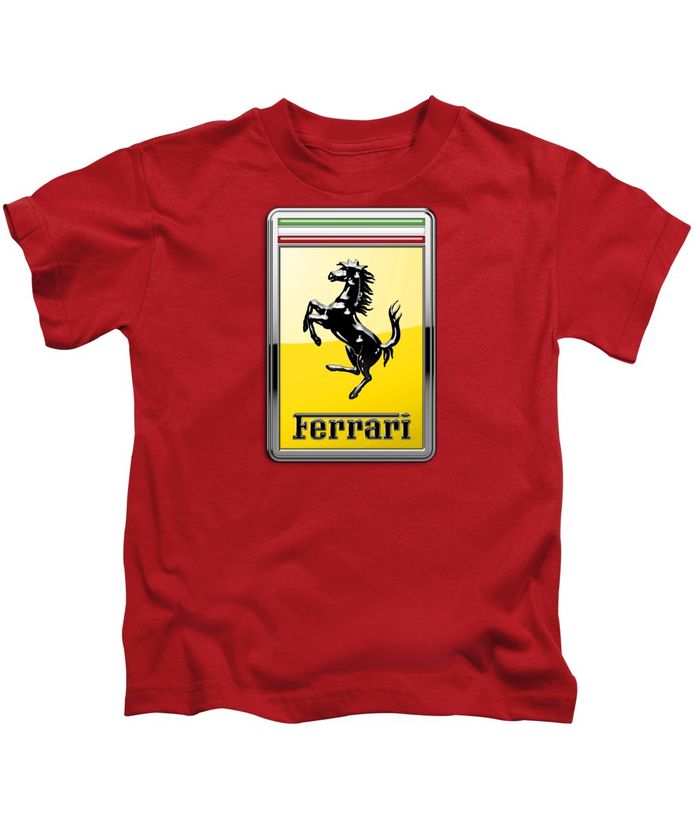 �auto Badges� Collection By Serge Averbukh Kids T-Shirt featuring the photograph Ferrari 3D Badge-Hood Ornament on Red by Serge Averbukh