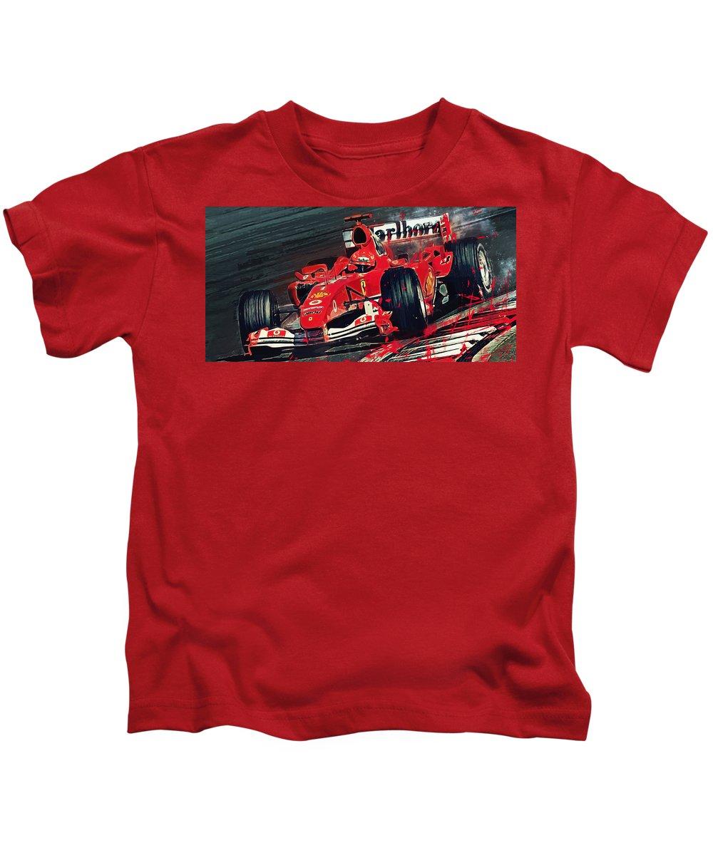 Ferrari Kids T-Shirt featuring the digital art Ferrari - Michael Schumacher by Afterdarkness