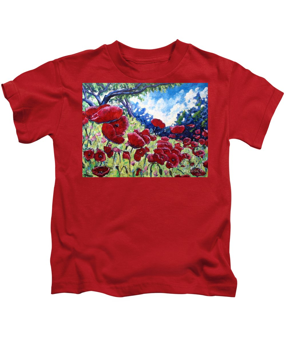 Poppies Kids T-Shirt featuring the painting Field Of Poppies 02 by Richard T Pranke