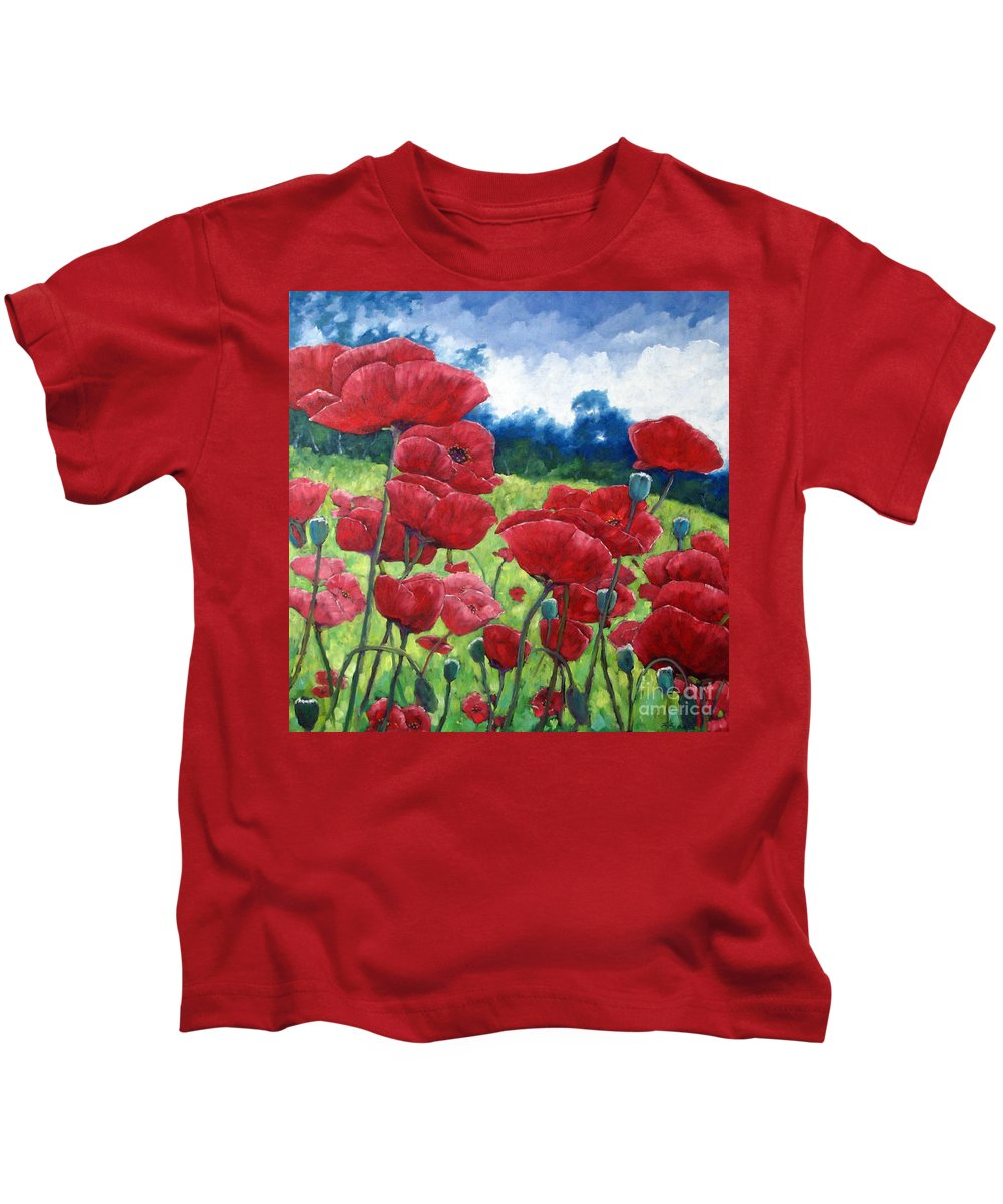 Poppies Kids T-Shirt featuring the painting Field Of Poppies by Richard T Pranke