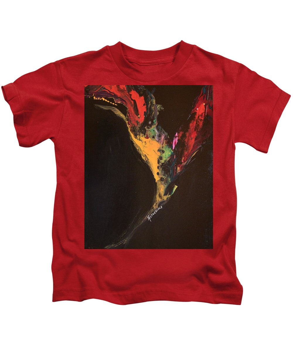 Art Nouveau Kids T-Shirt featuring the painting Fiery Escape by Maria Isabel Storniolo