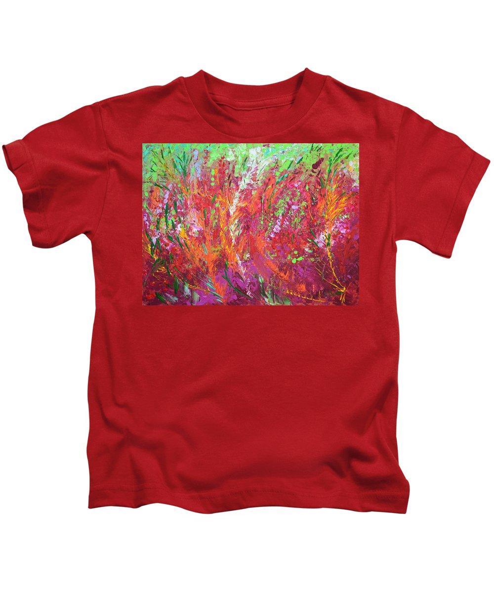 Fire Meadow Kids T-Shirt featuring the painting Fiery Meadow by Adriana Dziuba
