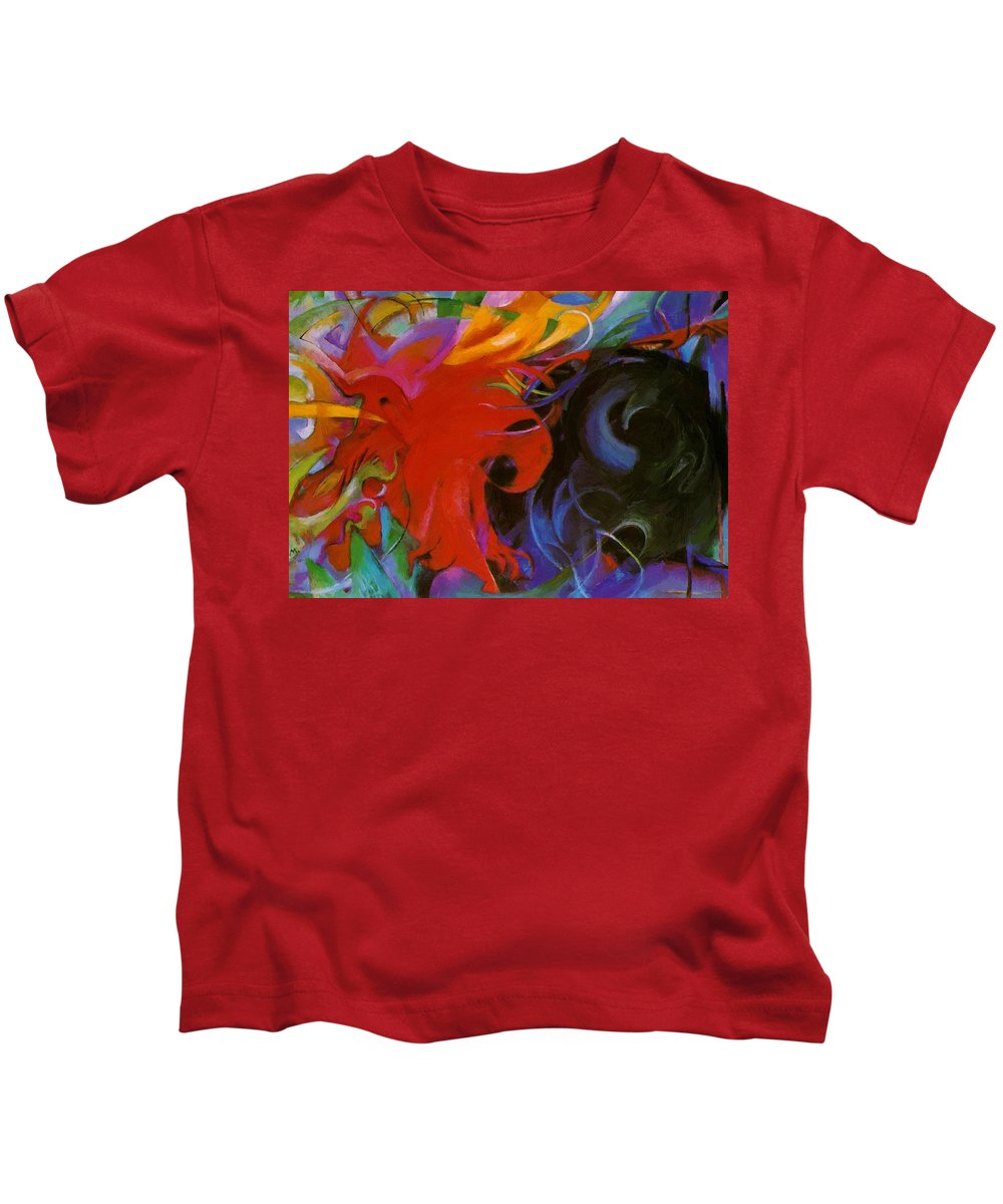 Fighting Kids T-Shirt featuring the painting Fighting Forms 1914 by Marc Franz