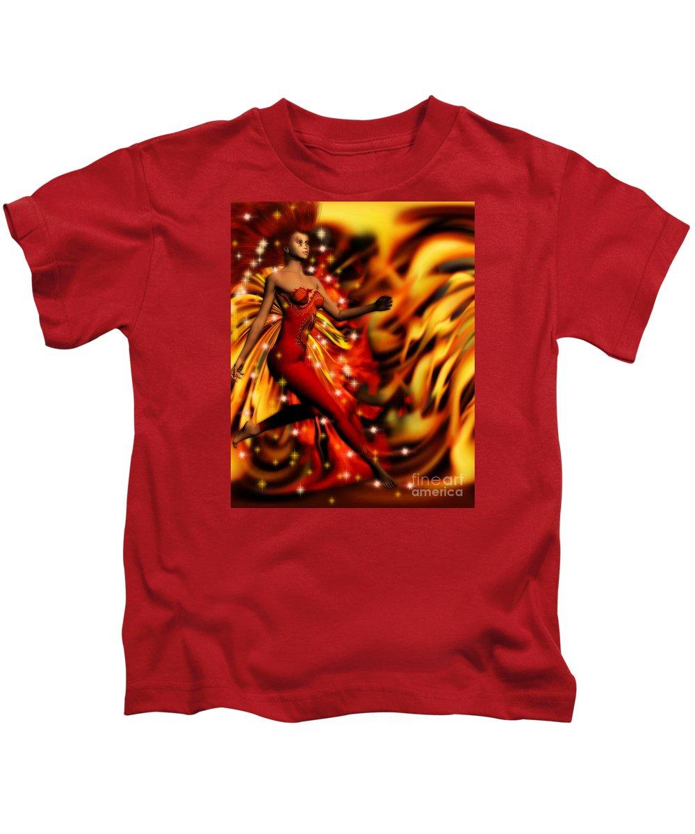 Art Kids T-Shirt featuring the digital art Fire Fae by Dorothy Lee