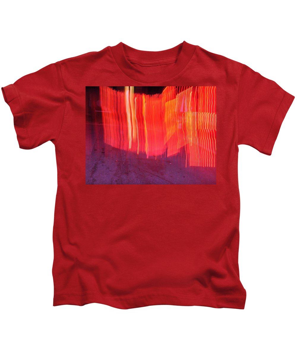 Photograph Kids T-Shirt featuring the photograph Fire Fence by Thomas Valentine