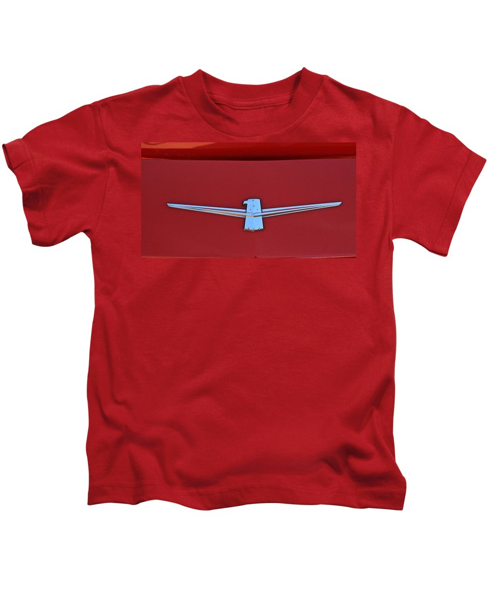 Emblem Firebird Classic Red Car Race Pontiac Kids T-Shirt featuring the photograph Firebird by Robert Pearson