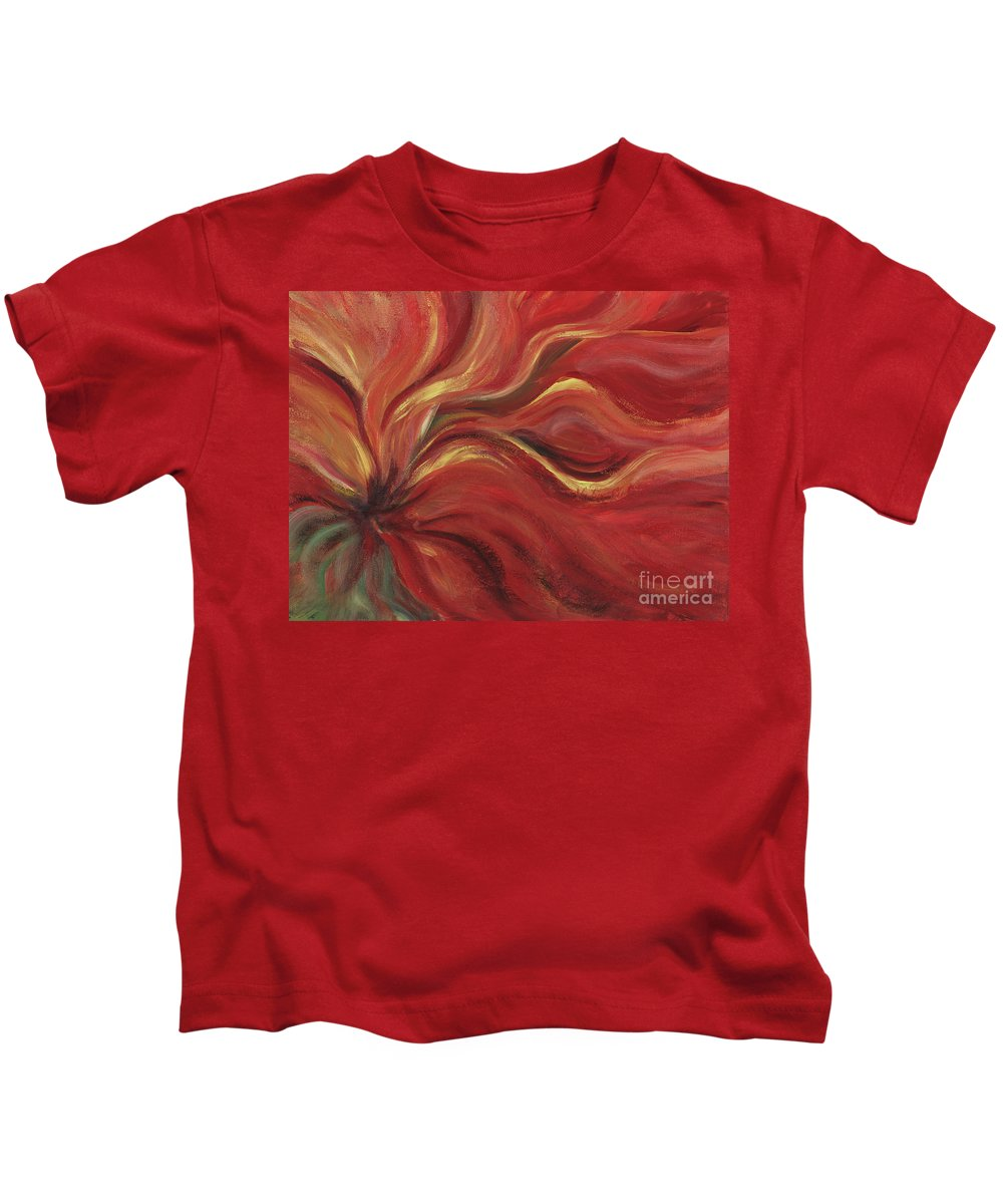 Red Kids T-Shirt featuring the painting Flaming Flower by Nadine Rippelmeyer