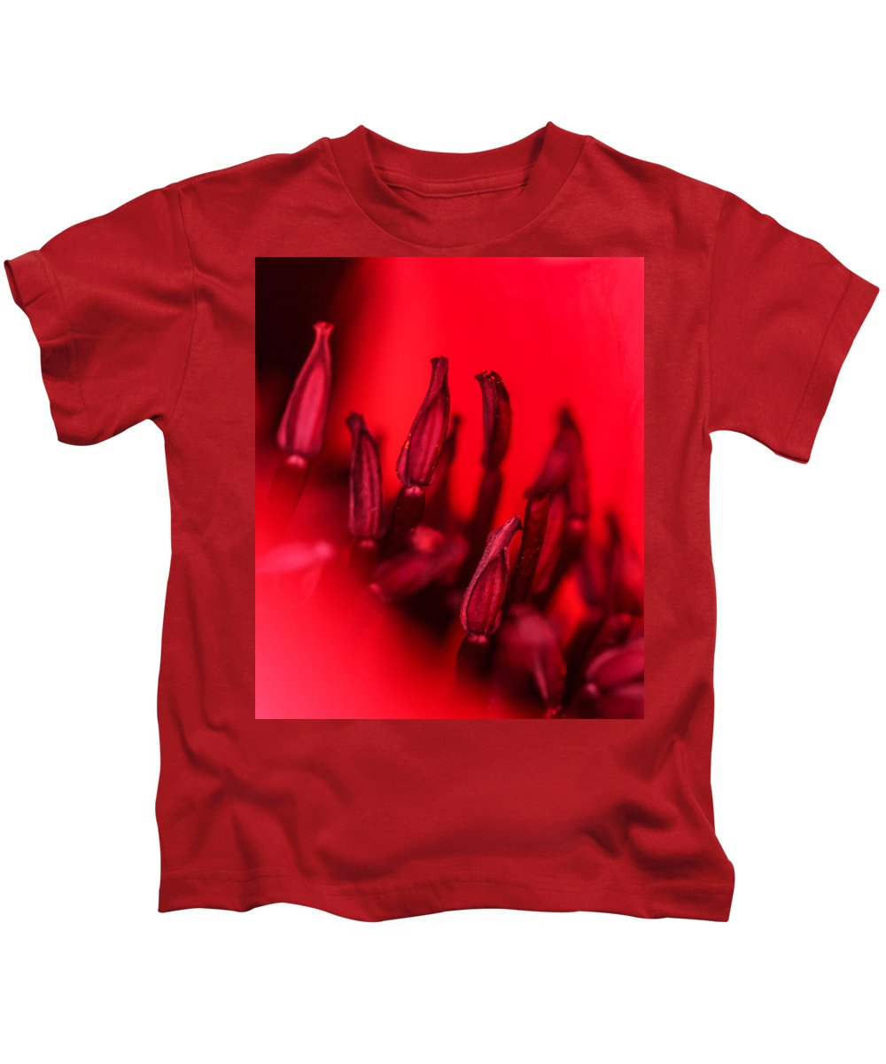 Poppy Kids T-Shirt featuring the photograph Flaming Poppy Detail by Mo Barton