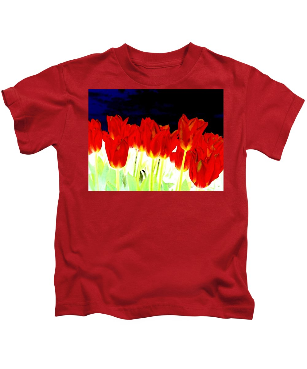 Red Tulips Kids T-Shirt featuring the digital art Flaming Red Tulips by Will Borden