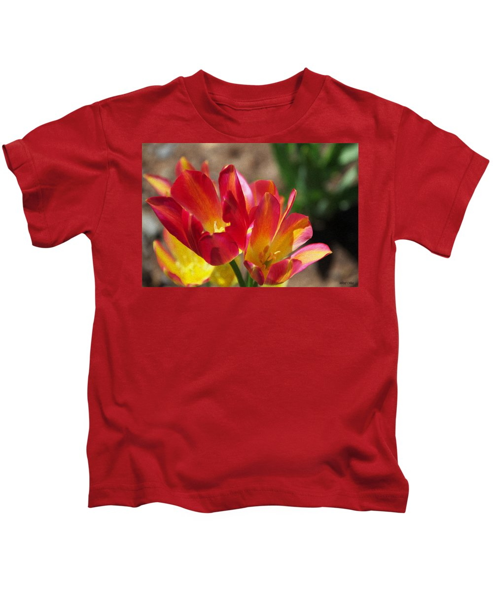 Tulips Kids T-Shirt featuring the painting Flaming Tulips by Jeffrey Kolker