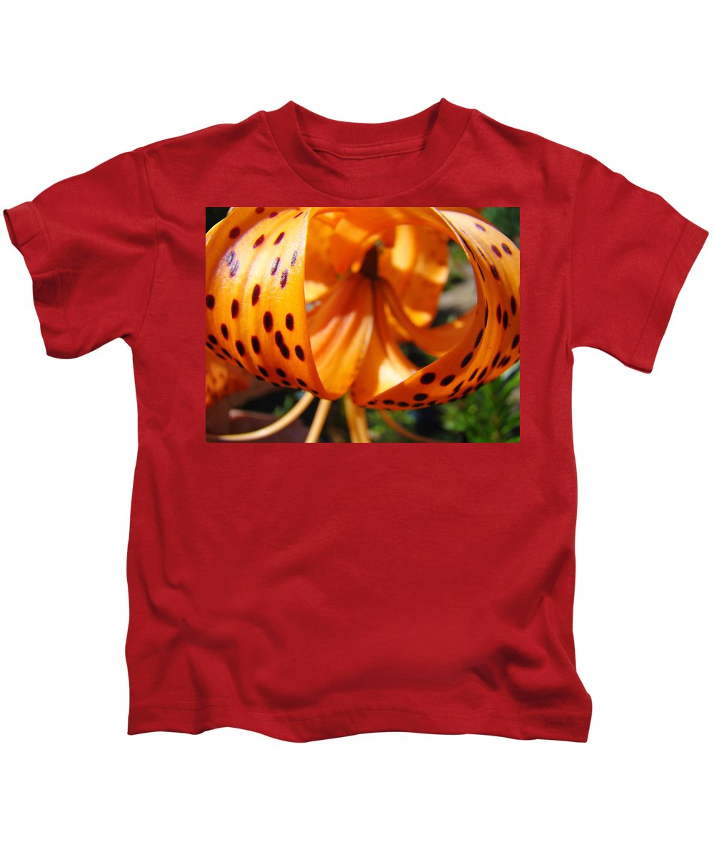 Lilies Kids T-Shirt featuring the photograph Floral Abstracts Art Prints Summer Tiger Lily Baslee Troutman by Baslee Troutman
