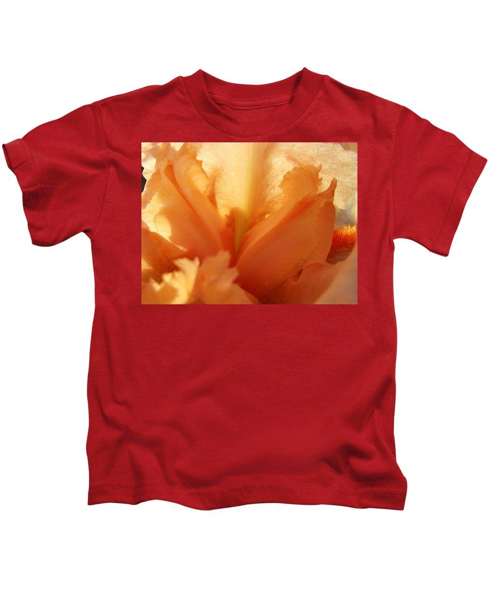 Iris Kids T-Shirt featuring the photograph Floral Art Orange Iris Flower Sunlit Baslee Troutman by Baslee Troutman