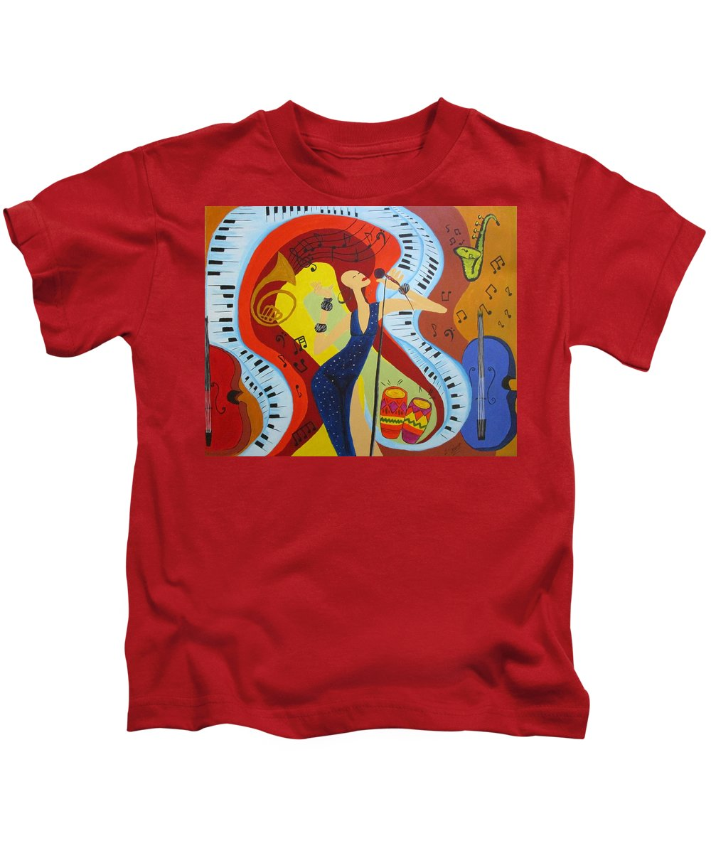 Music Kids T-Shirt featuring the painting Flow by Mya Soliman