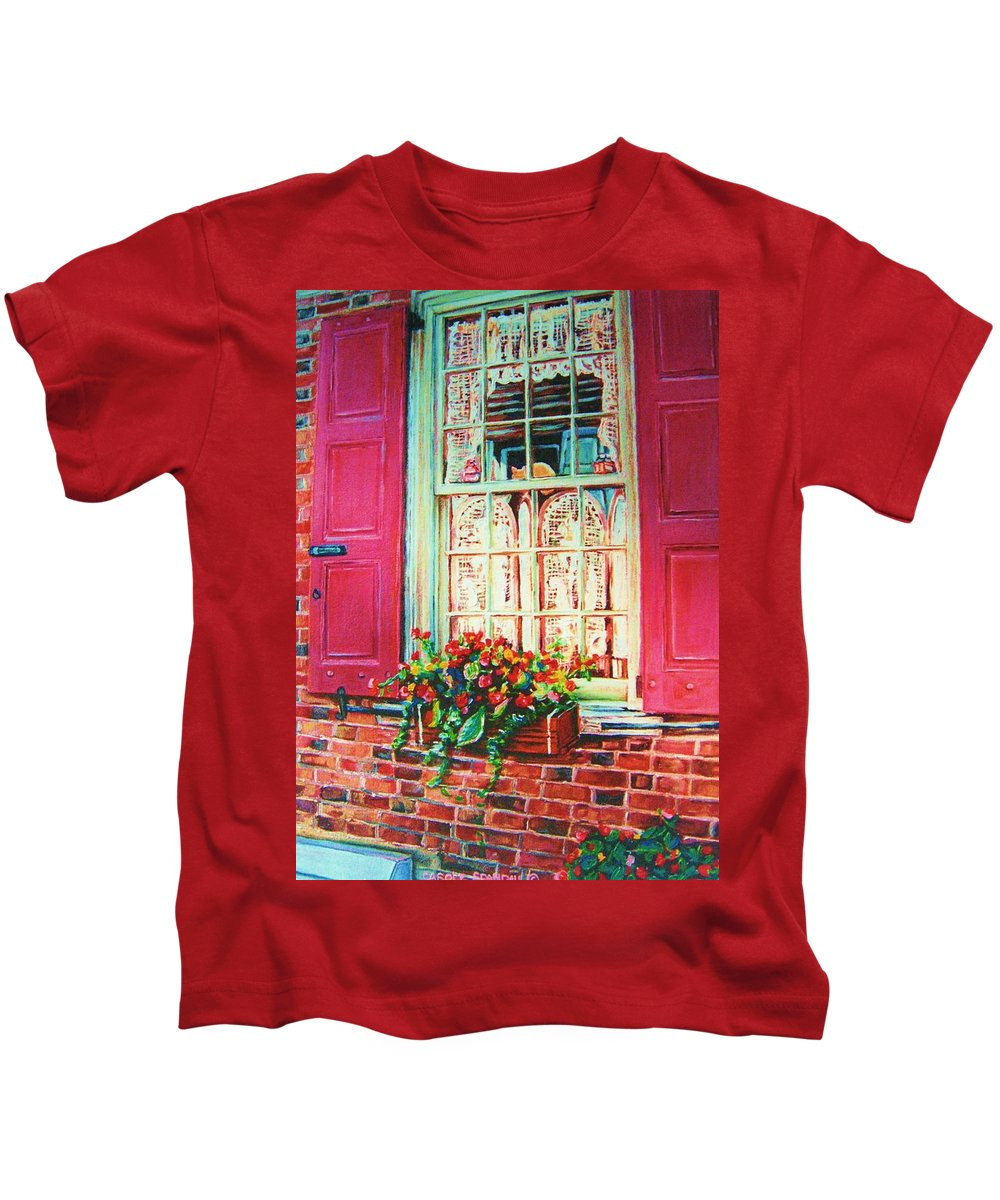 Flower Box Kids T-Shirt featuring the painting Flower Box And Pink Shutters by Carole Spandau