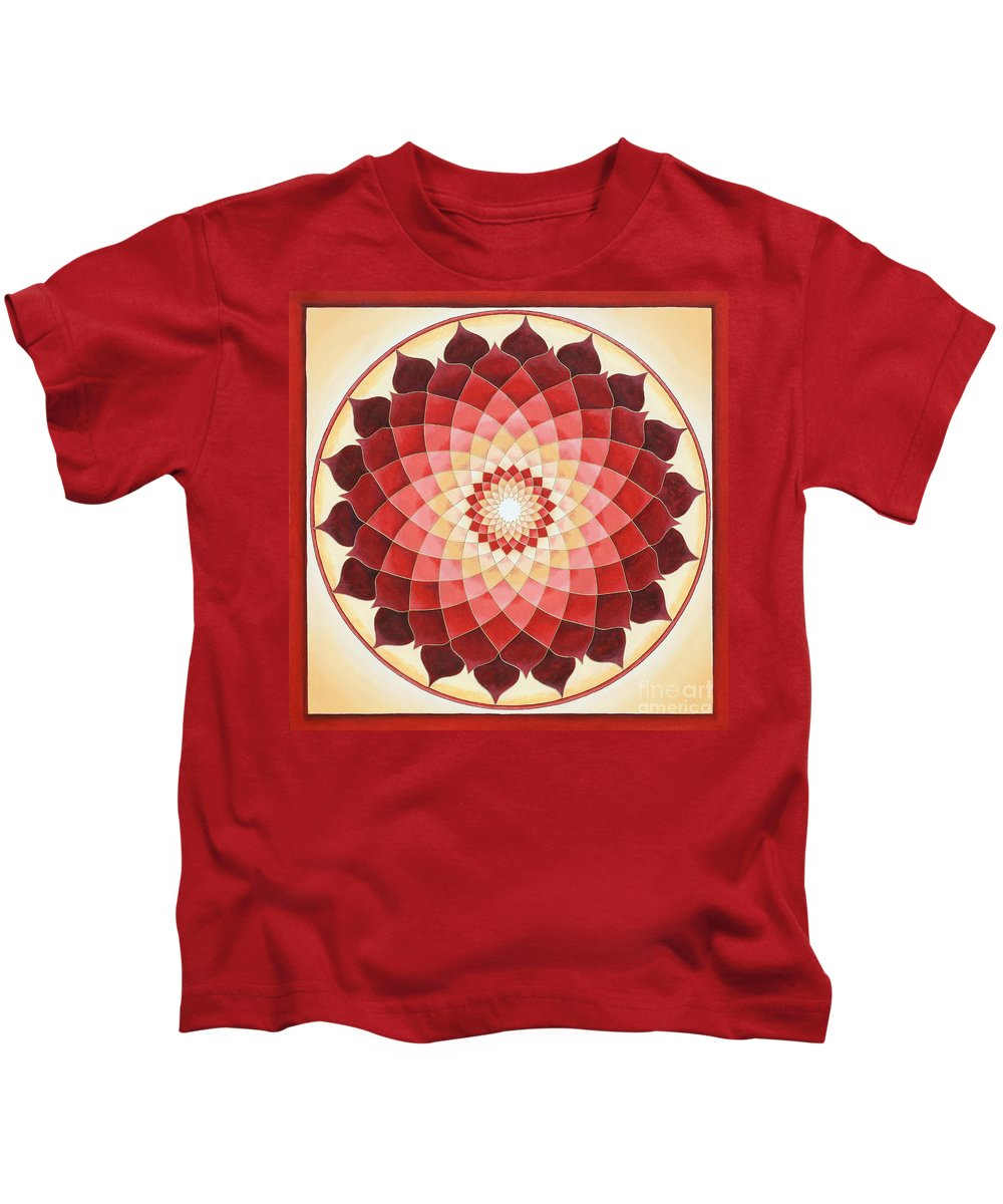 Mandala Kids T-Shirt featuring the painting Flower Of Life by Charlotte Backman
