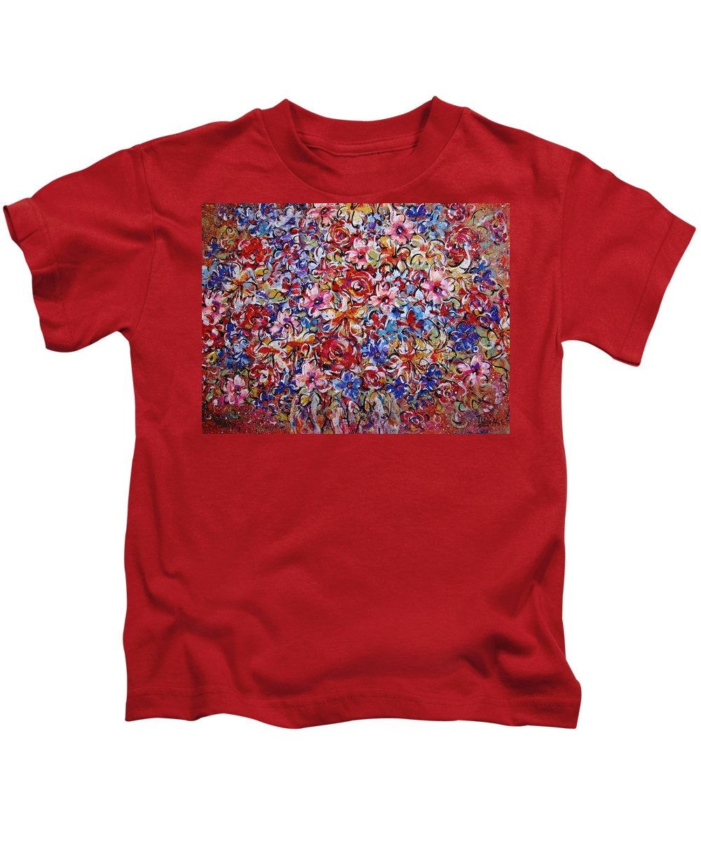 Flowers Kids T-Shirt featuring the painting Flower Passion by Natalie Holland