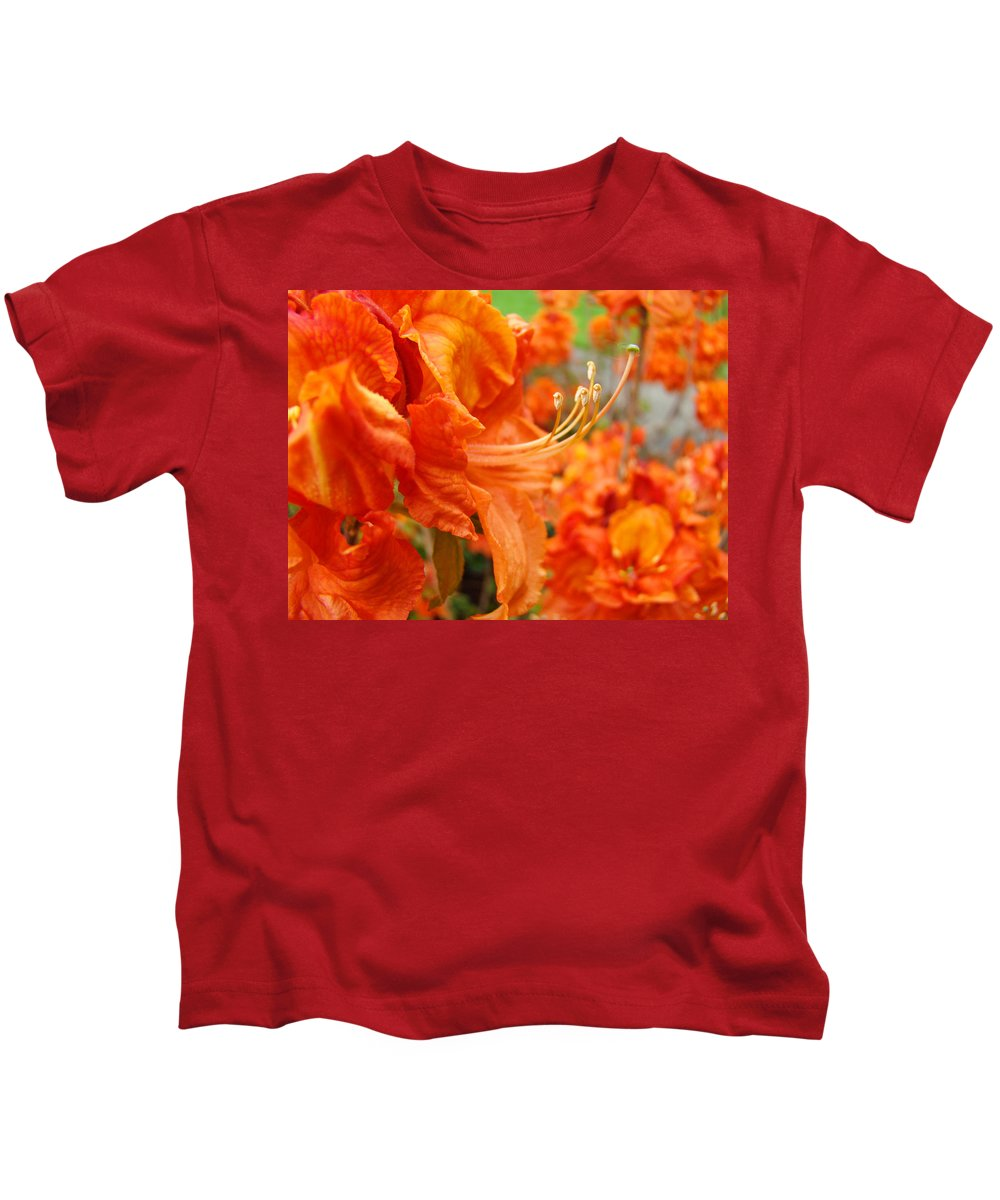 �azaleas Artwork� Kids T-Shirt featuring the photograph Flowers Azalea Garden Orange Azalea Flowers 1 Giclee Prints Baslee Troutman by Baslee Troutman