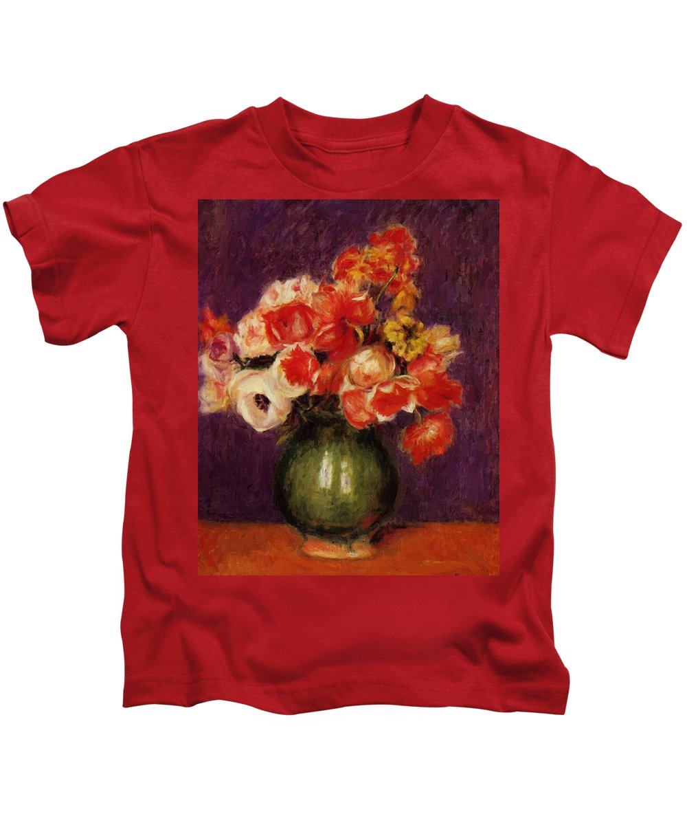 Flowers Kids T-Shirt featuring the painting Flowers In A Vase 1901 by Renoir PierreAuguste