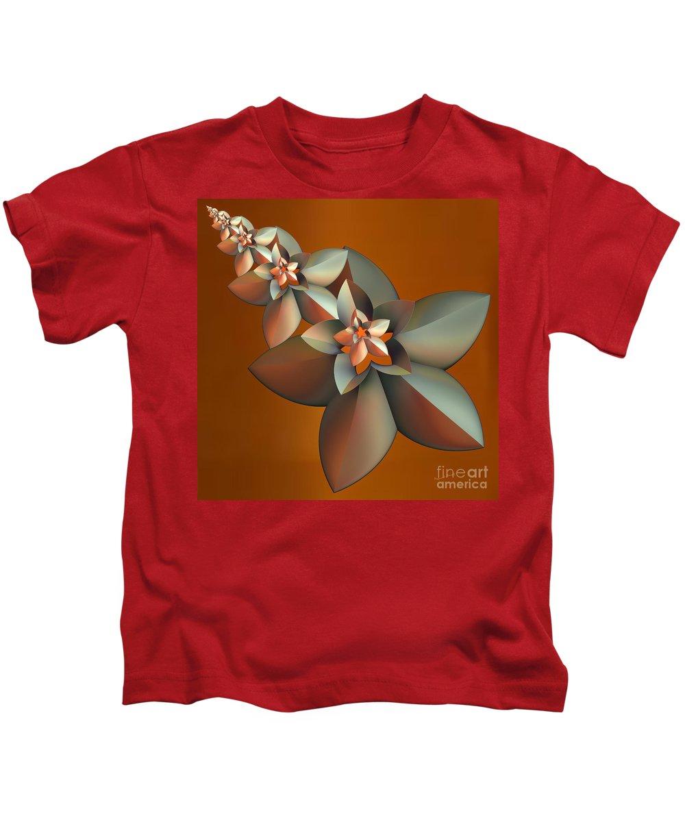 Fractal Kids T-Shirt featuring the digital art Flowers On Bronze by Deborah Benoit