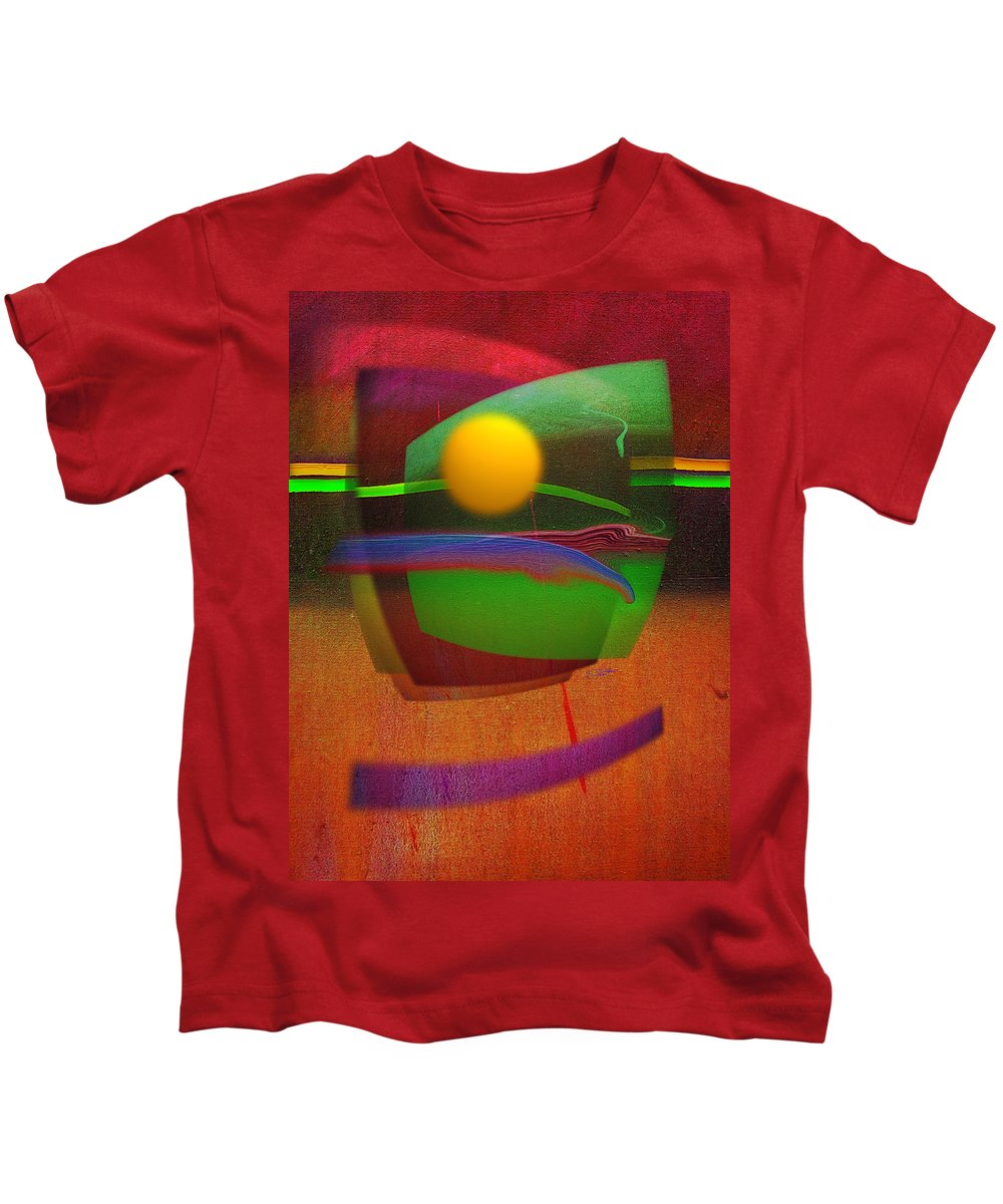 Abstract Kids T-Shirt featuring the painting Forbidden Planet by Charles Stuart
