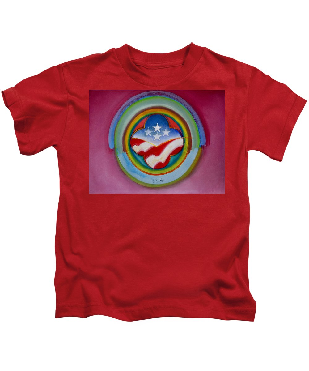 Button Kids T-Shirt featuring the painting Four Star Button by Charles Stuart
