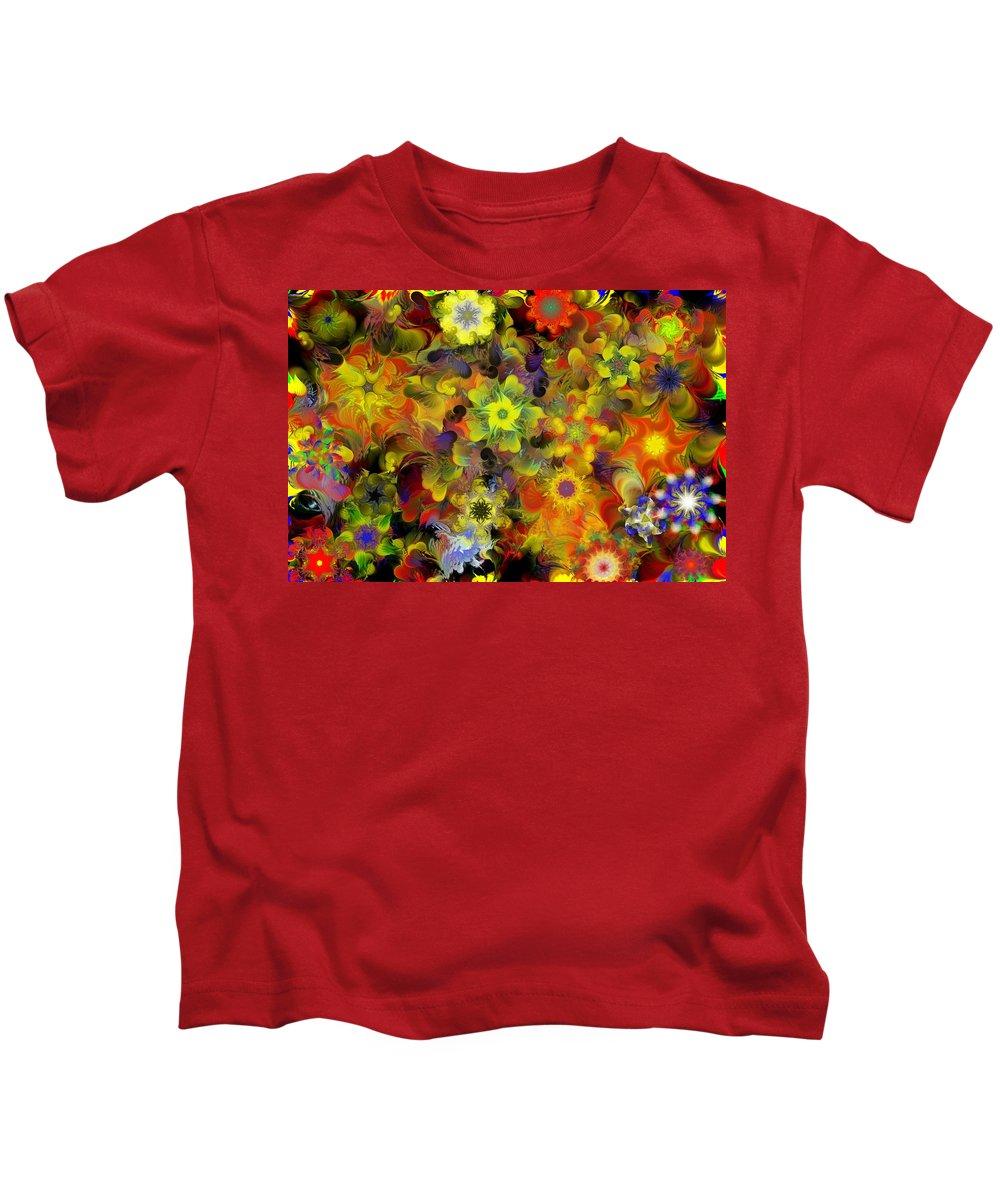 Digital Painting Kids T-Shirt featuring the digital art Fractal Floral Study 10-27-09 by David Lane
