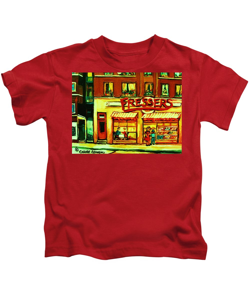 Fressers Kids T-Shirt featuring the painting Fressers Takeout Deli by Carole Spandau