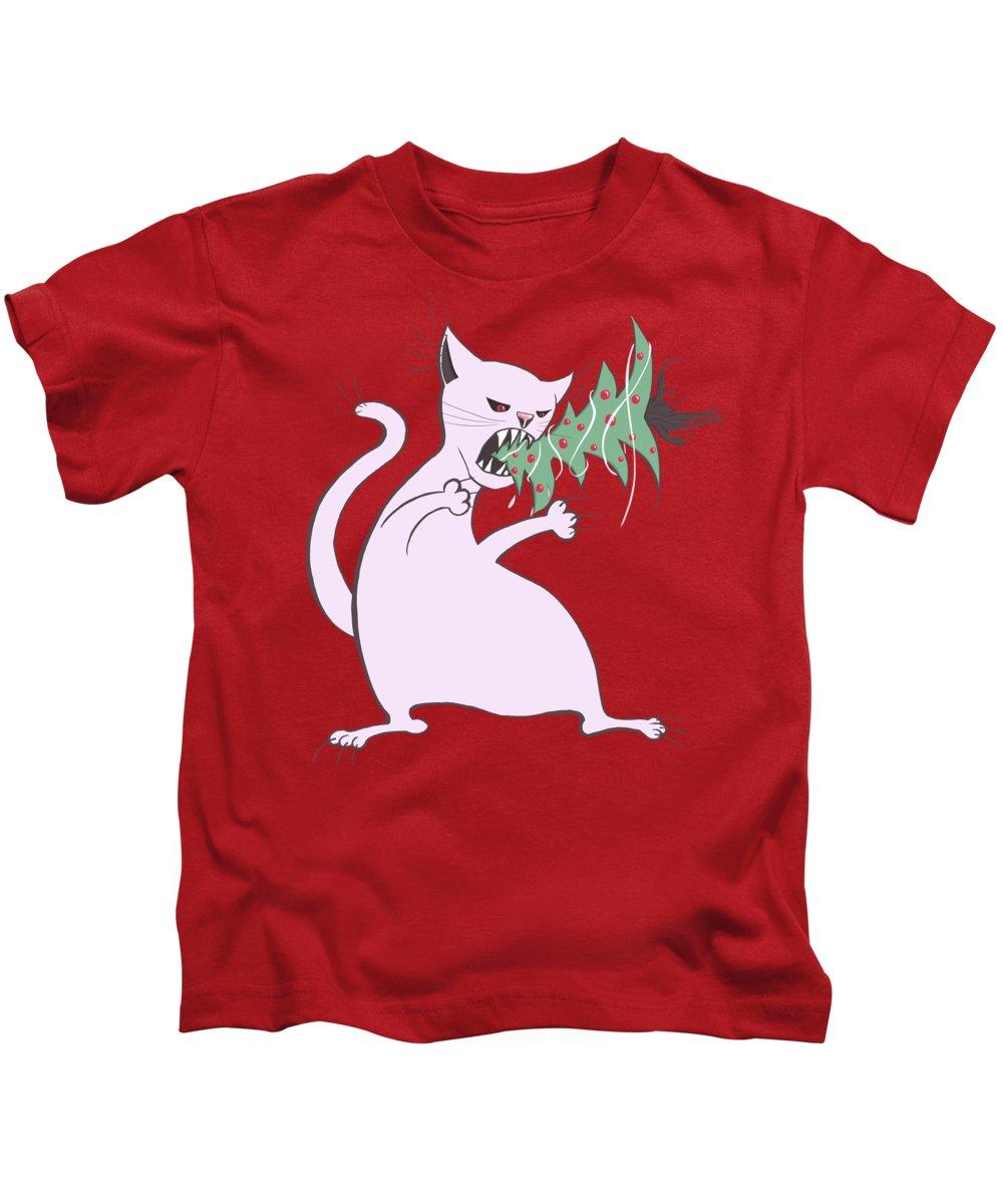 Tree Kids T-Shirt featuring the digital art Funny White Cat Eats Christmas Tree by Boriana Giormova