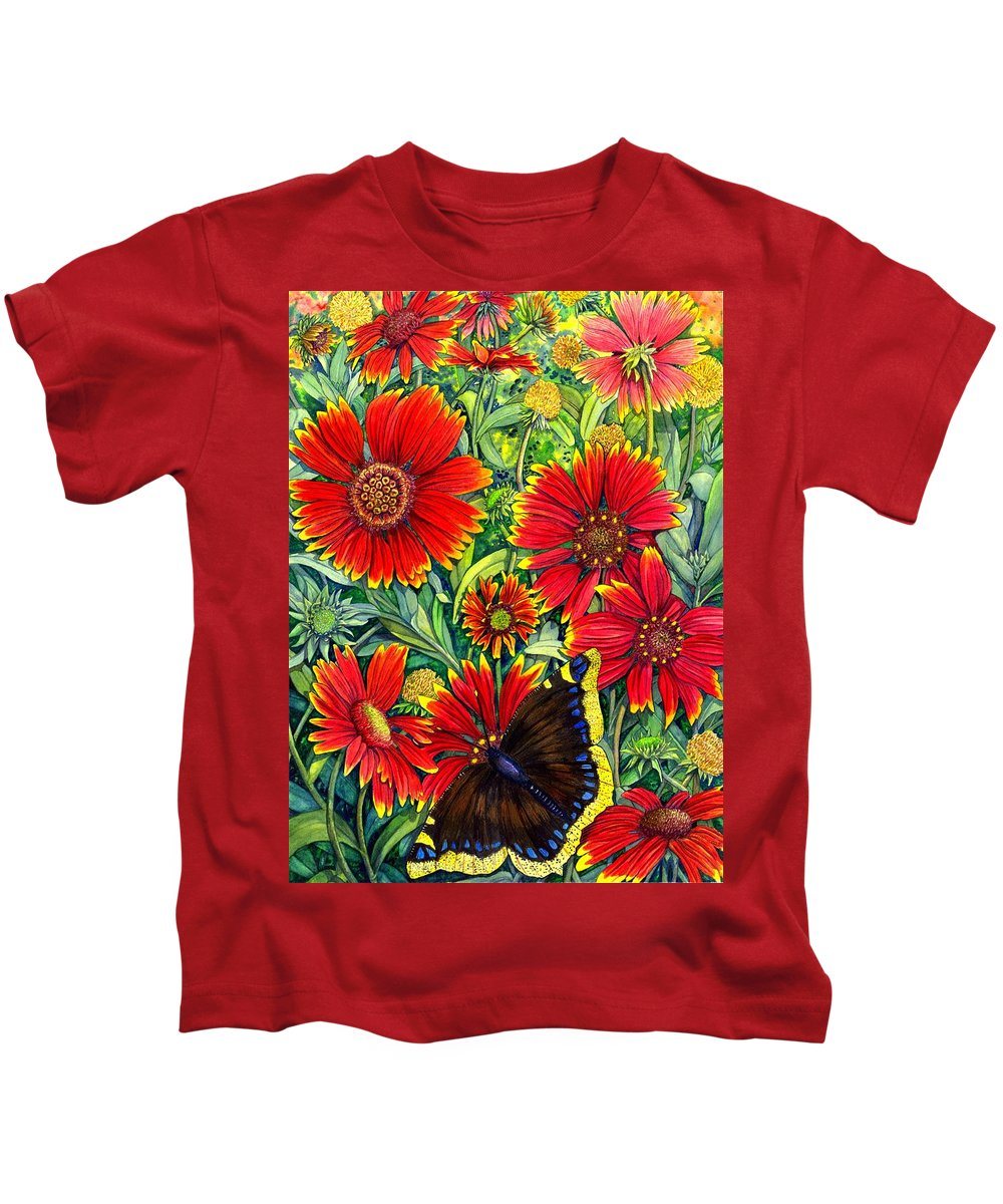 Butterfly Kids T-Shirt featuring the painting Gaillardia by Catherine G McElroy