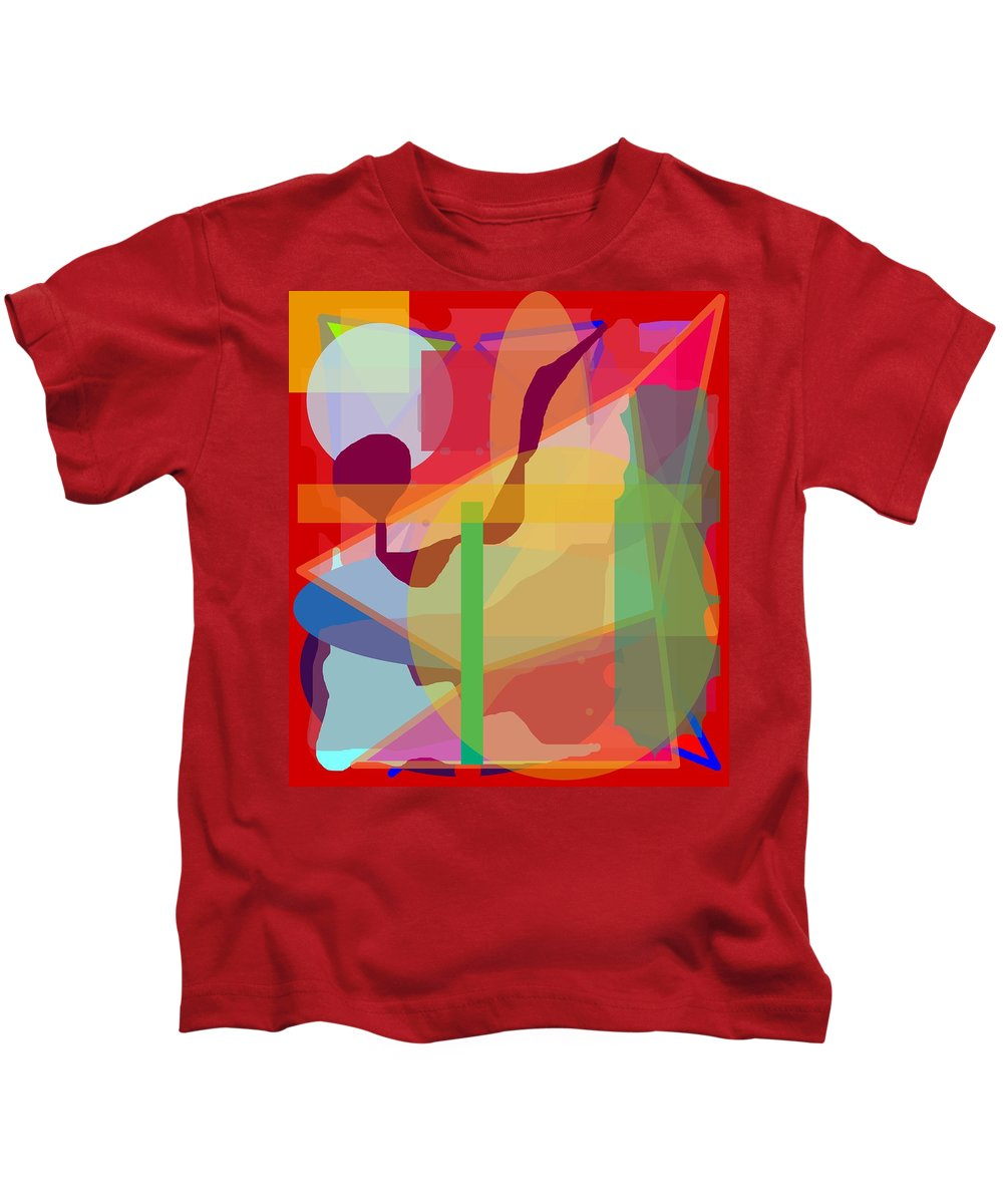 Abstract Kids T-Shirt featuring the painting Geo Frenzy by Pharris Art
