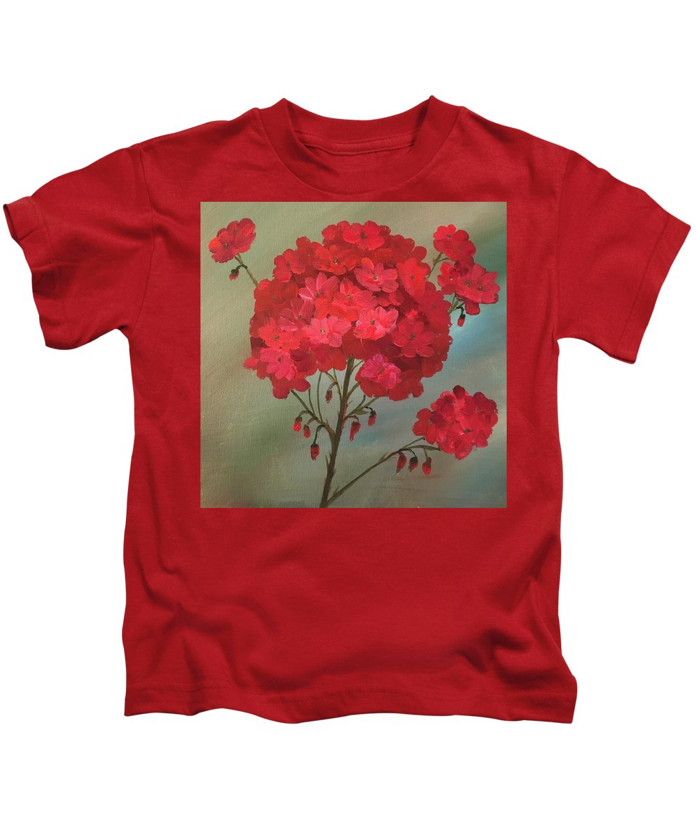 Red Kids T-Shirt featuring the painting Geraniums by Filomena Irving