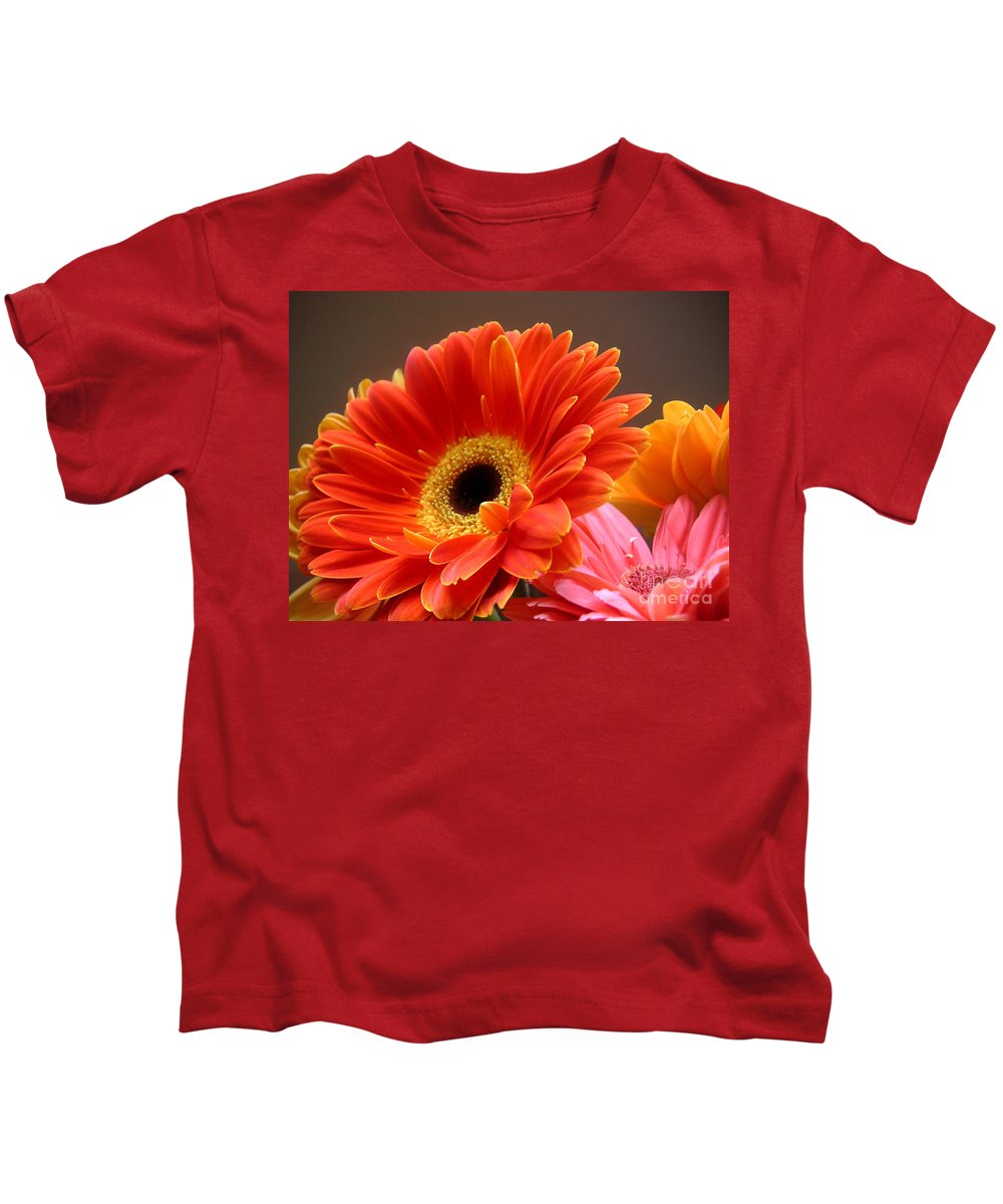 Nature Kids T-Shirt featuring the photograph Gerbera Daisies - Luminous by Lucyna A M Green