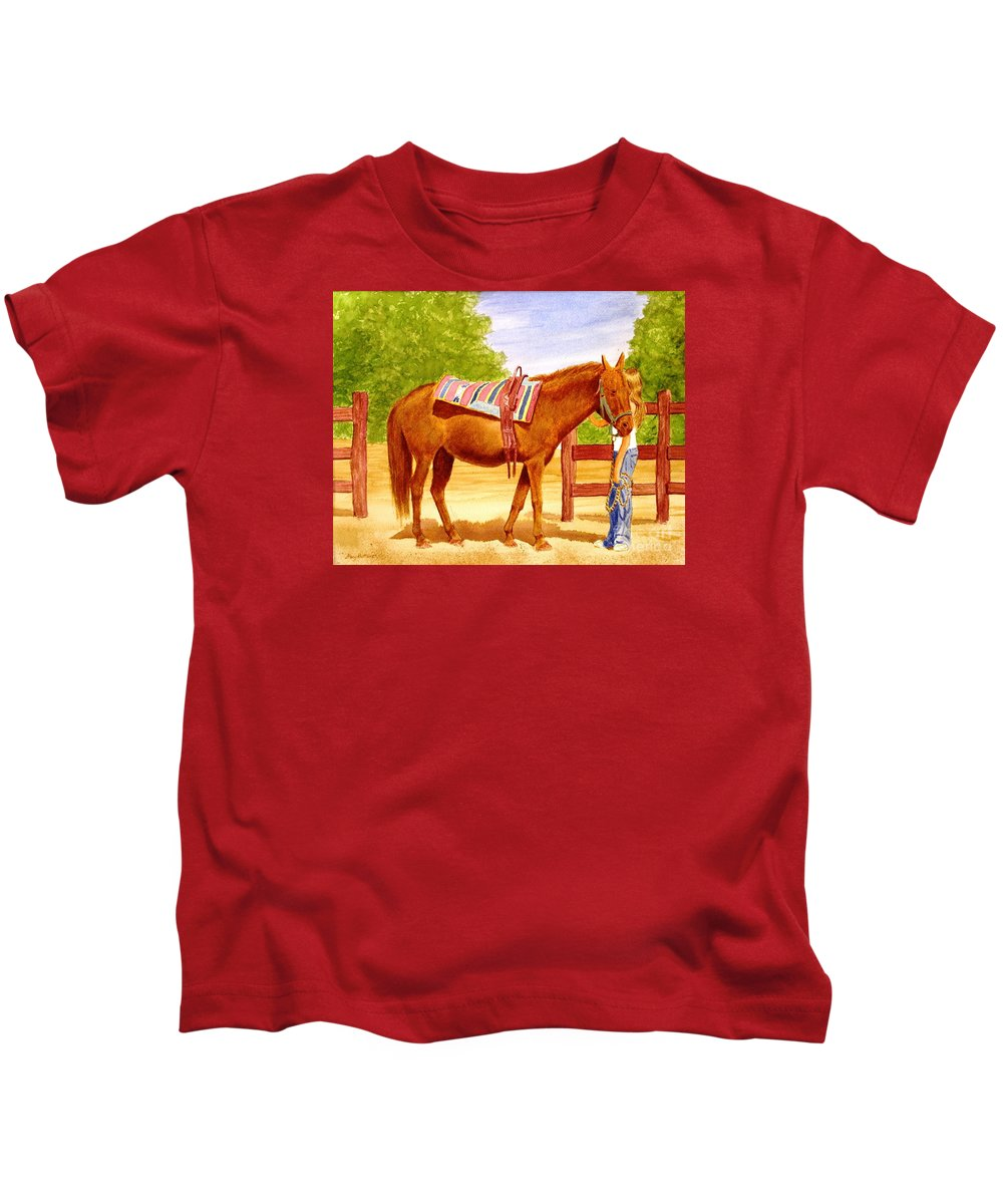 Equine Kids T-Shirt featuring the painting Girl Talk by Stacy C Bottoms