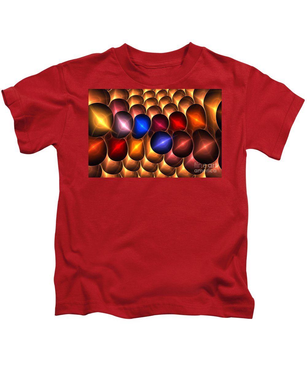 Apophysis Kids T-Shirt featuring the digital art Gold Red Bells by Kim Sy Ok